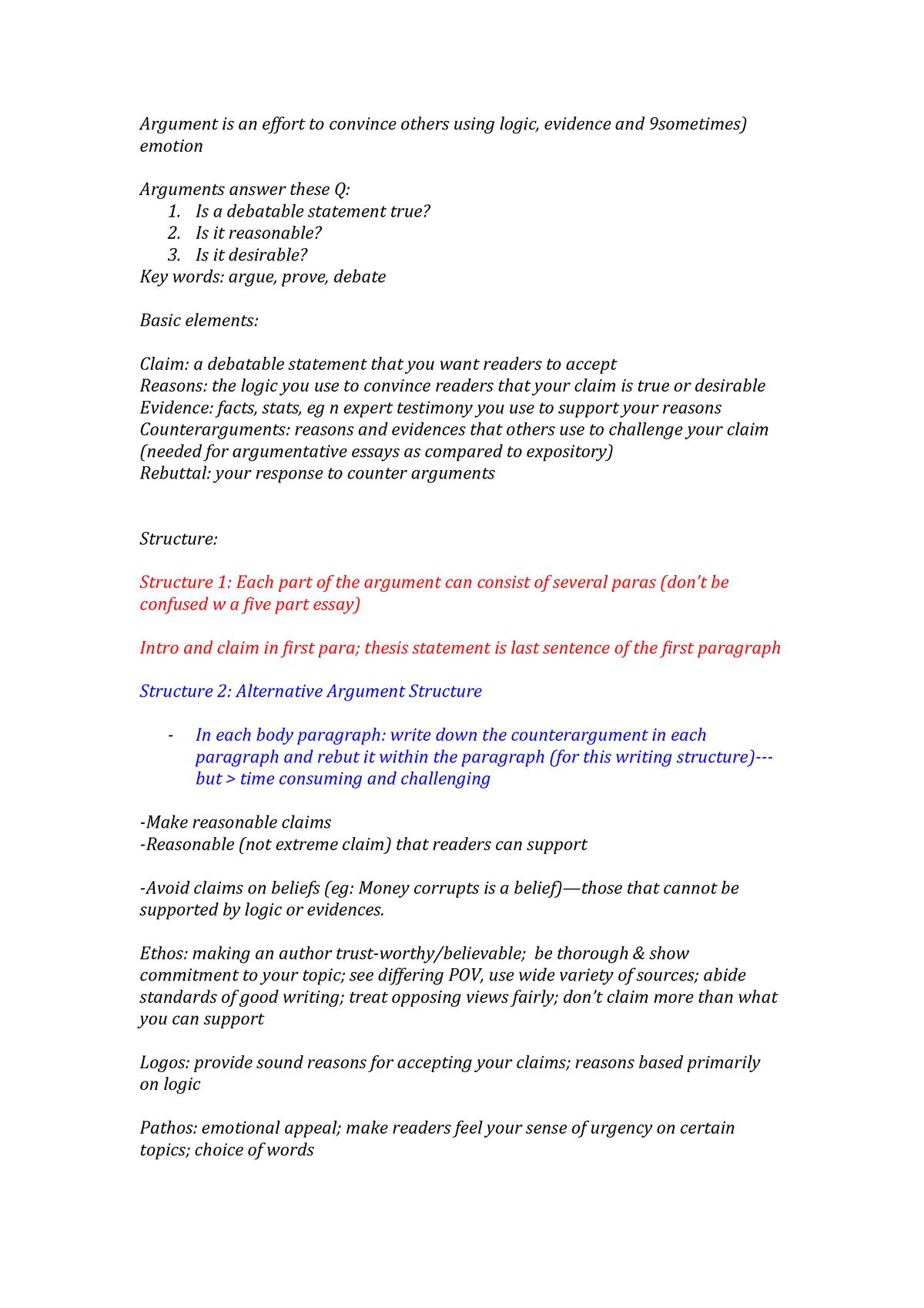 The Argumentative Essay   FAS30   StuDocu
