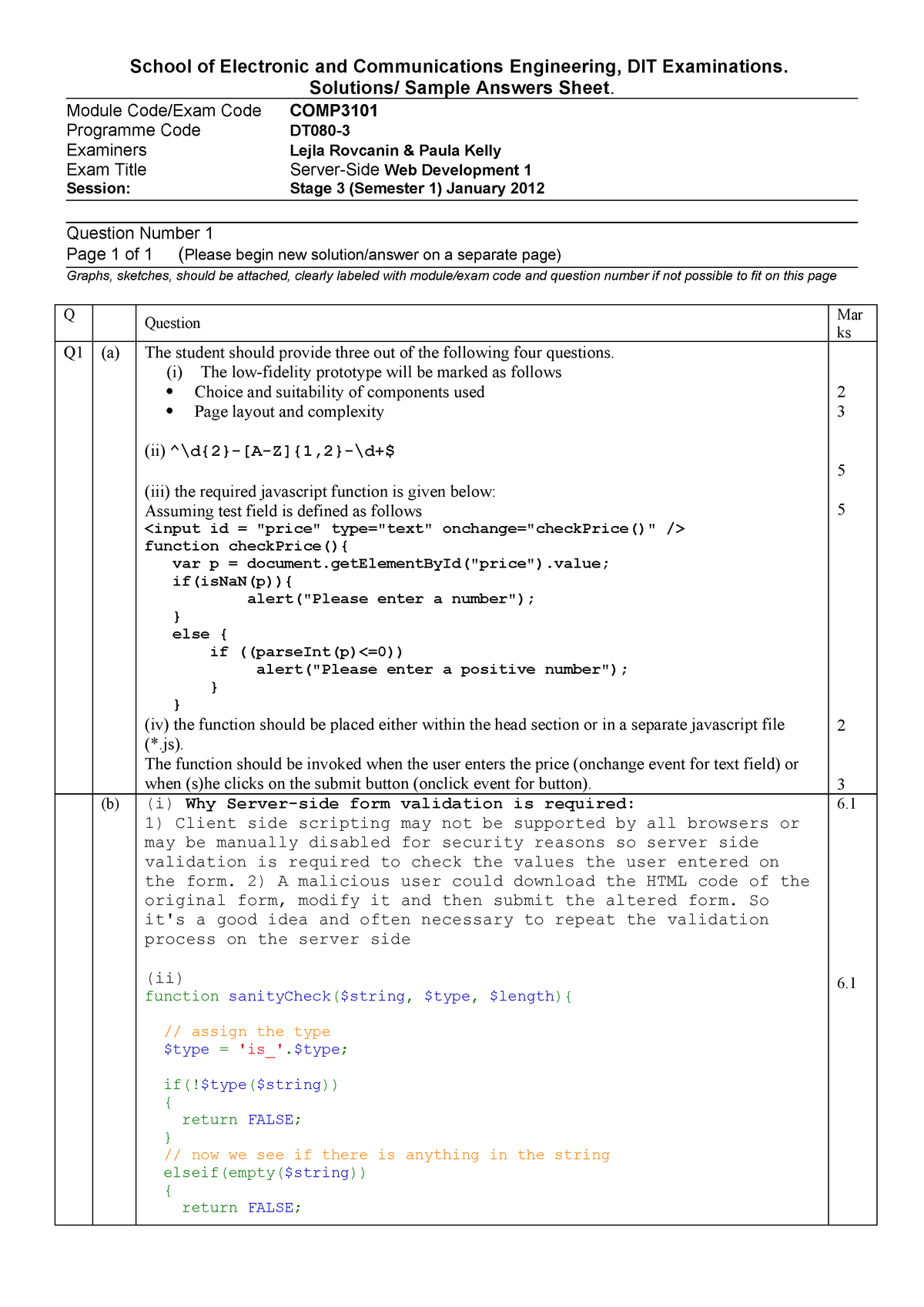 Exam 2011 - COMP3101: Server-side Web Development - StuDocu