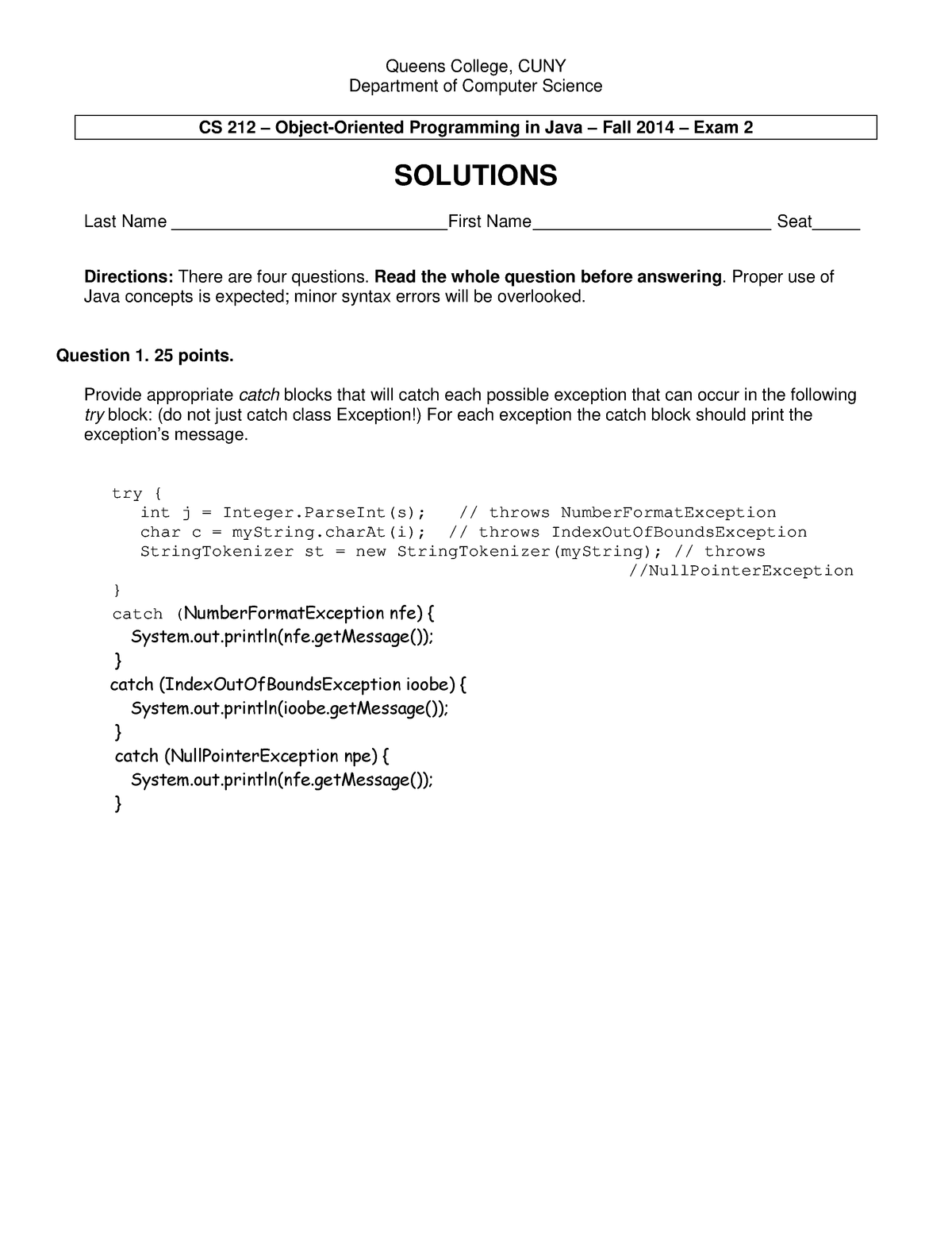 Exam Autumn 2014, questions and answers - CSCI 212 - QC CUNY