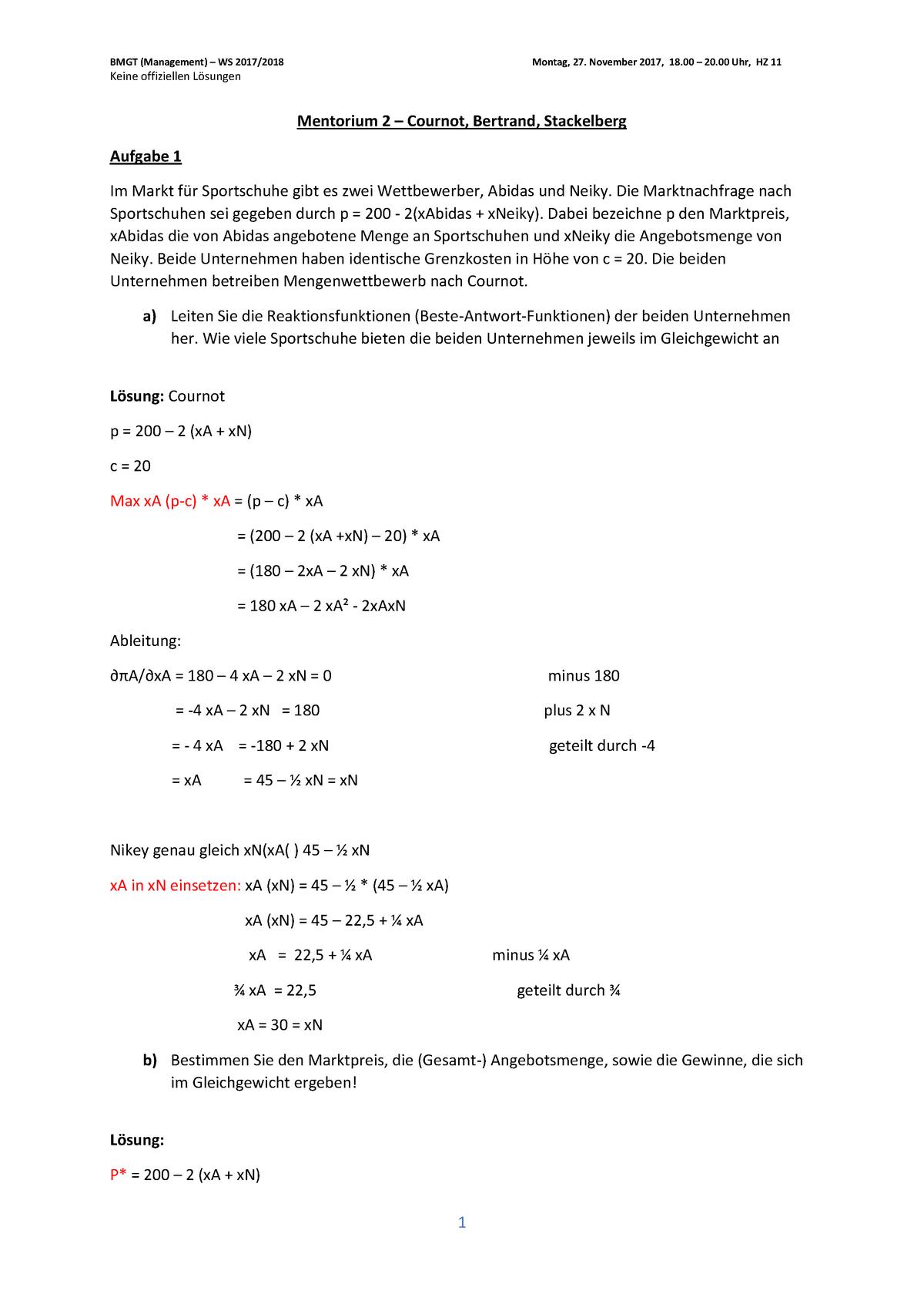 BMGT Mentorium 2 (WS 2017 18) BMGT: Management StuDocu