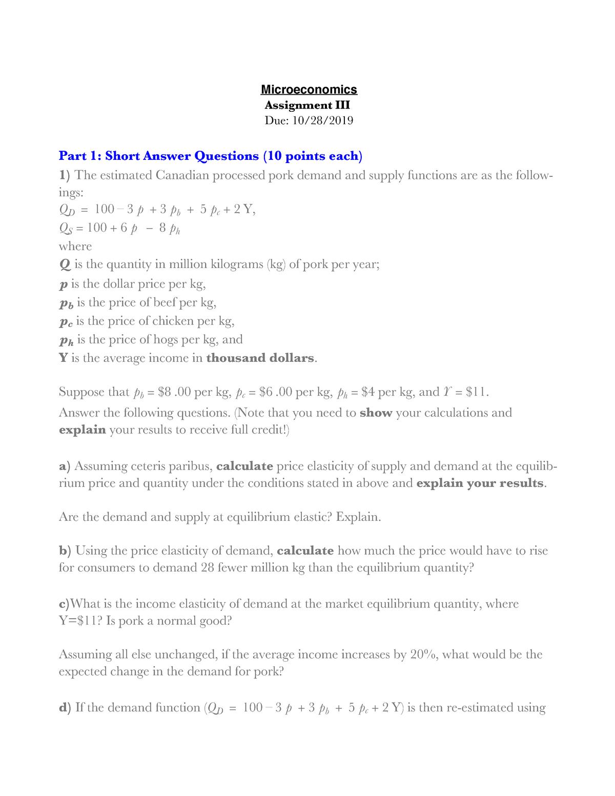 Econ 2200 Assignment 3 Econ 2200 Elementary Microeconomics Studocu