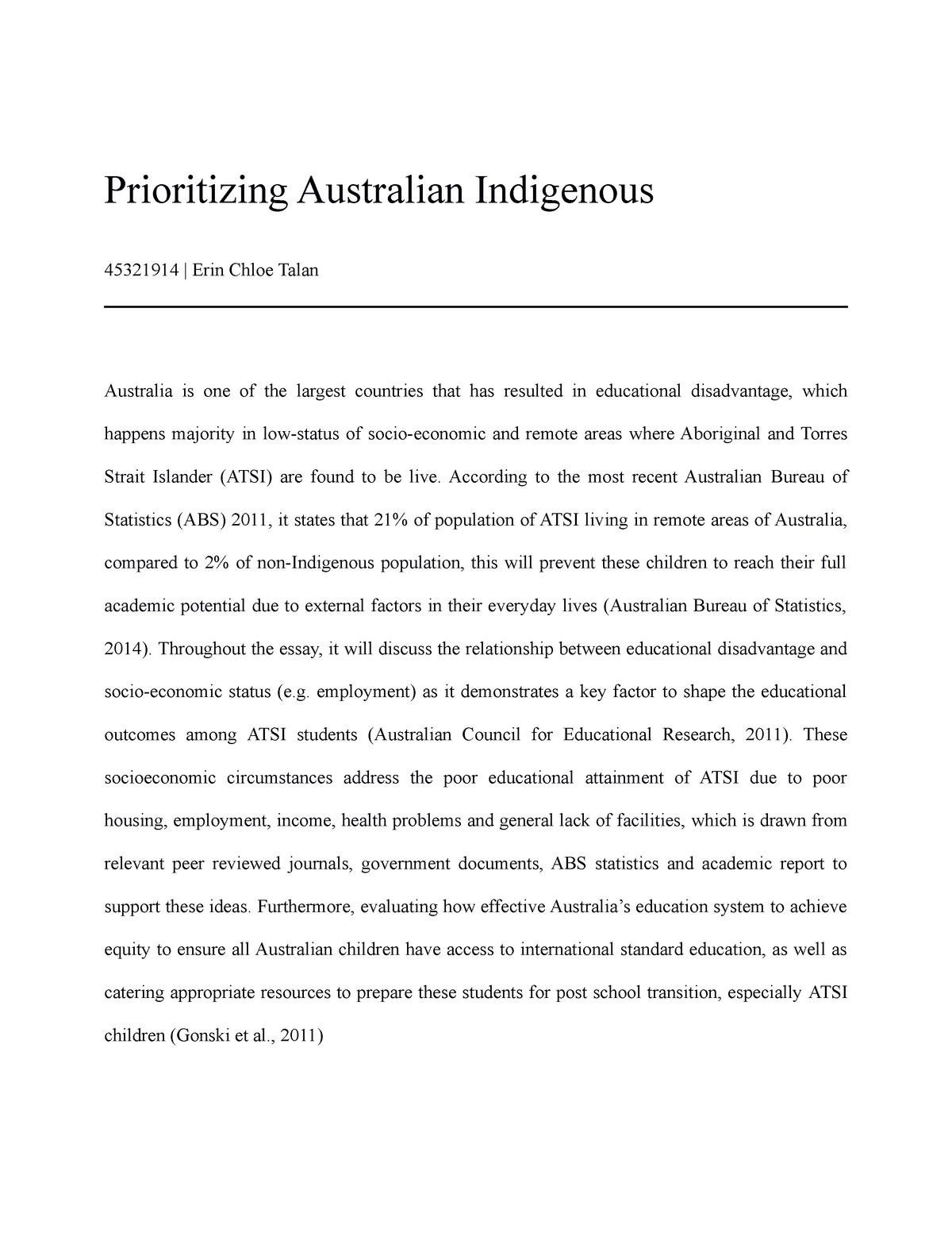 aboriginal and torres strait islander social disadvantage