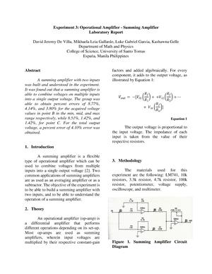Seminar Assignments - Experiment 3: Operational Amplifier