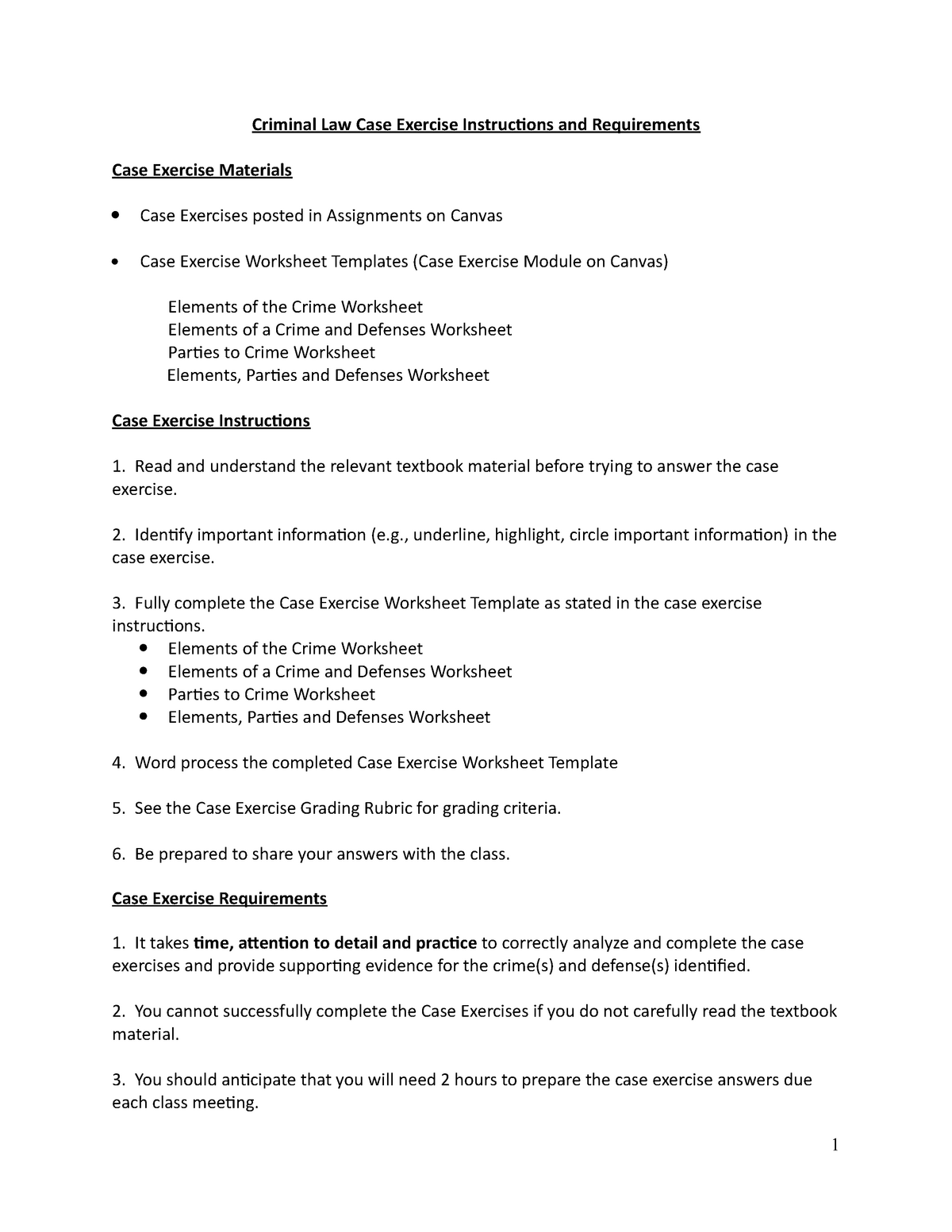 Criminal Law Case Exercise Instructions And Requirements 1 Studocu
