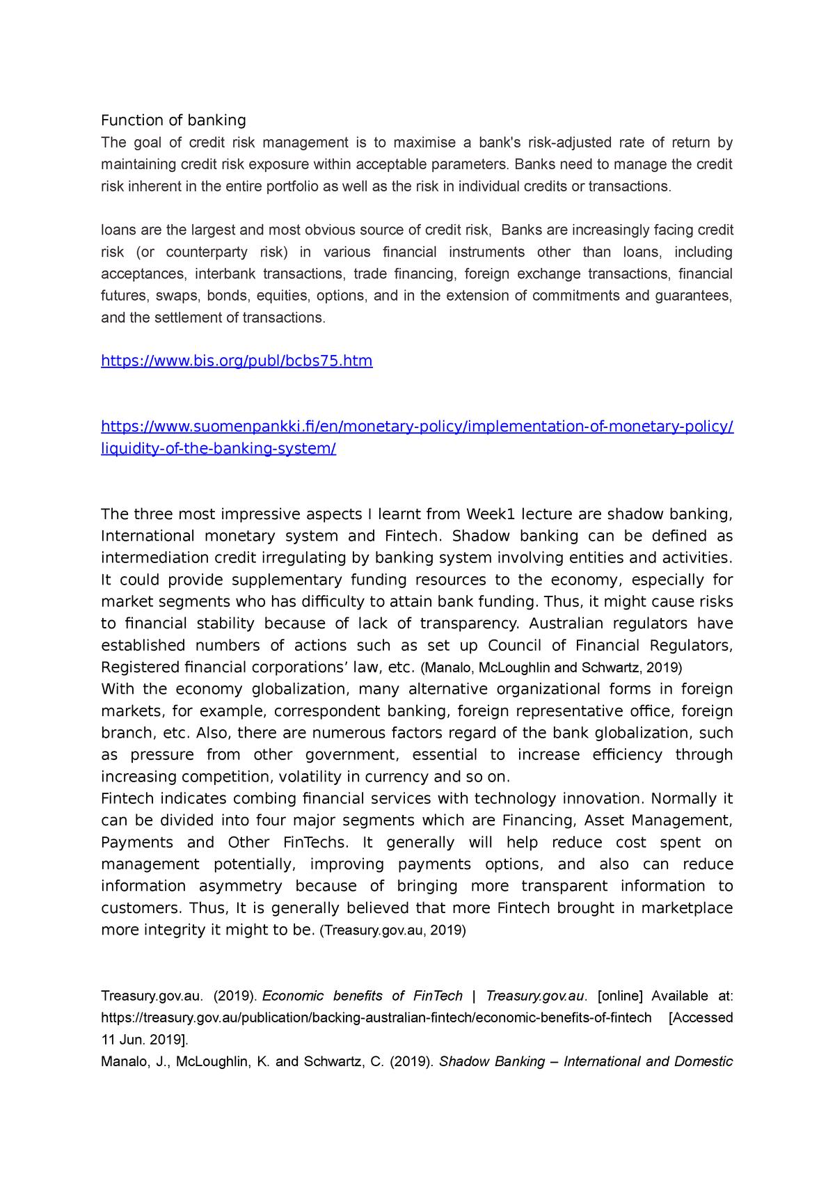 Fins3650 Reflection W1 - FINS3650: International Banking - StuDocu
