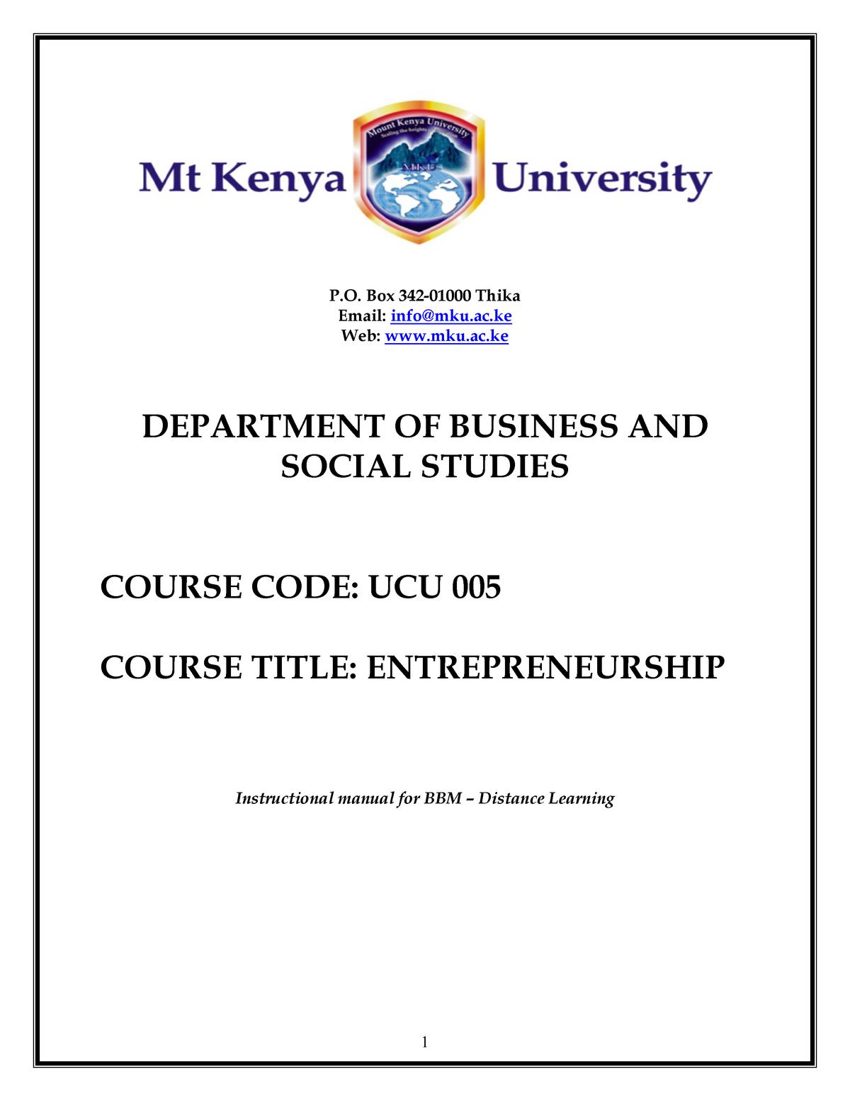 BUCU004+ Entreprenuership - BBM 477: Human Resources