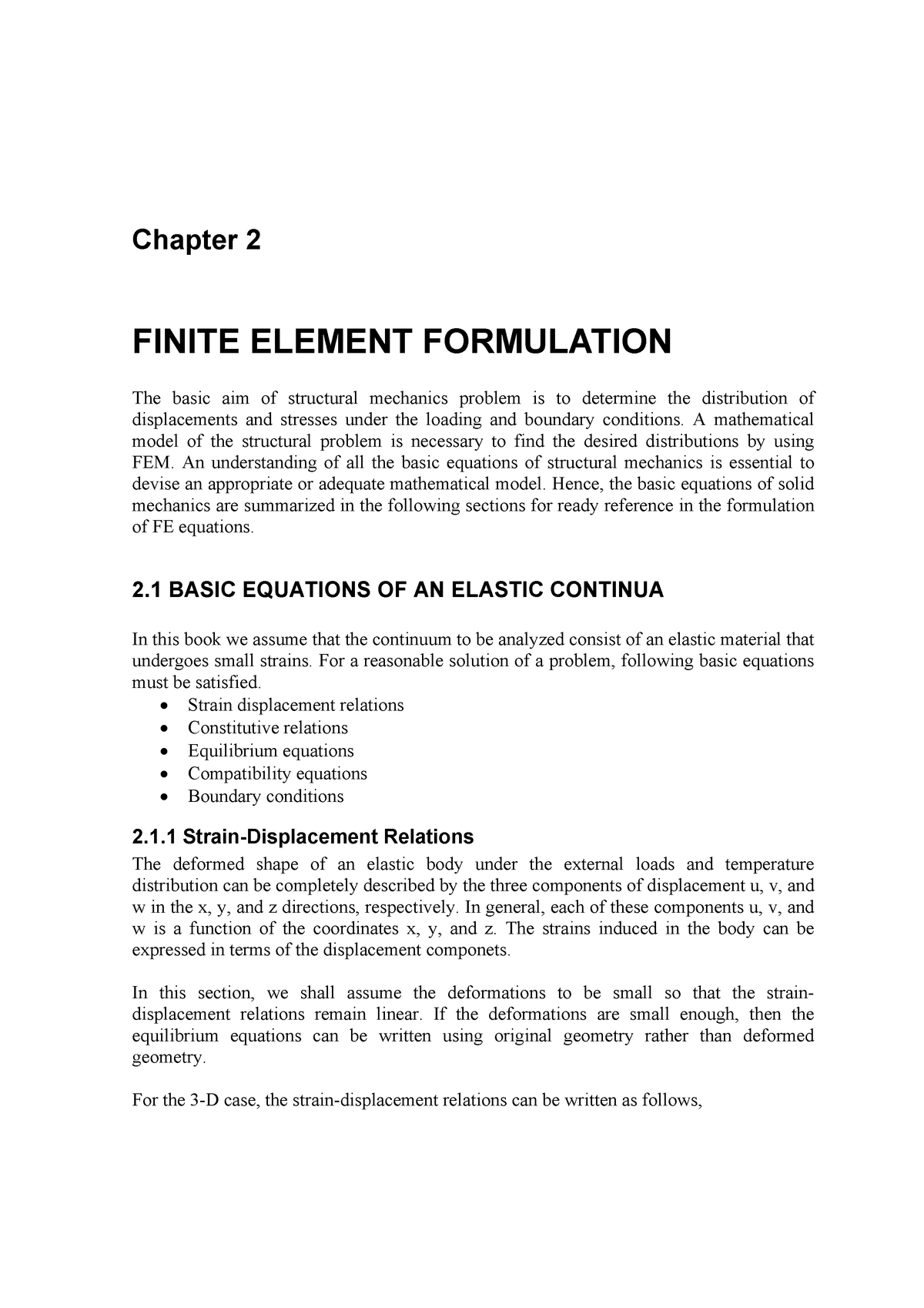 Fea chapter 2 - Lecture notes 2 - Finite Element Theories