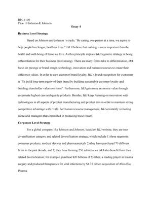 BPL 5100 Johnson& Johnson case - BPL 5100: Business Policy - StuDocu