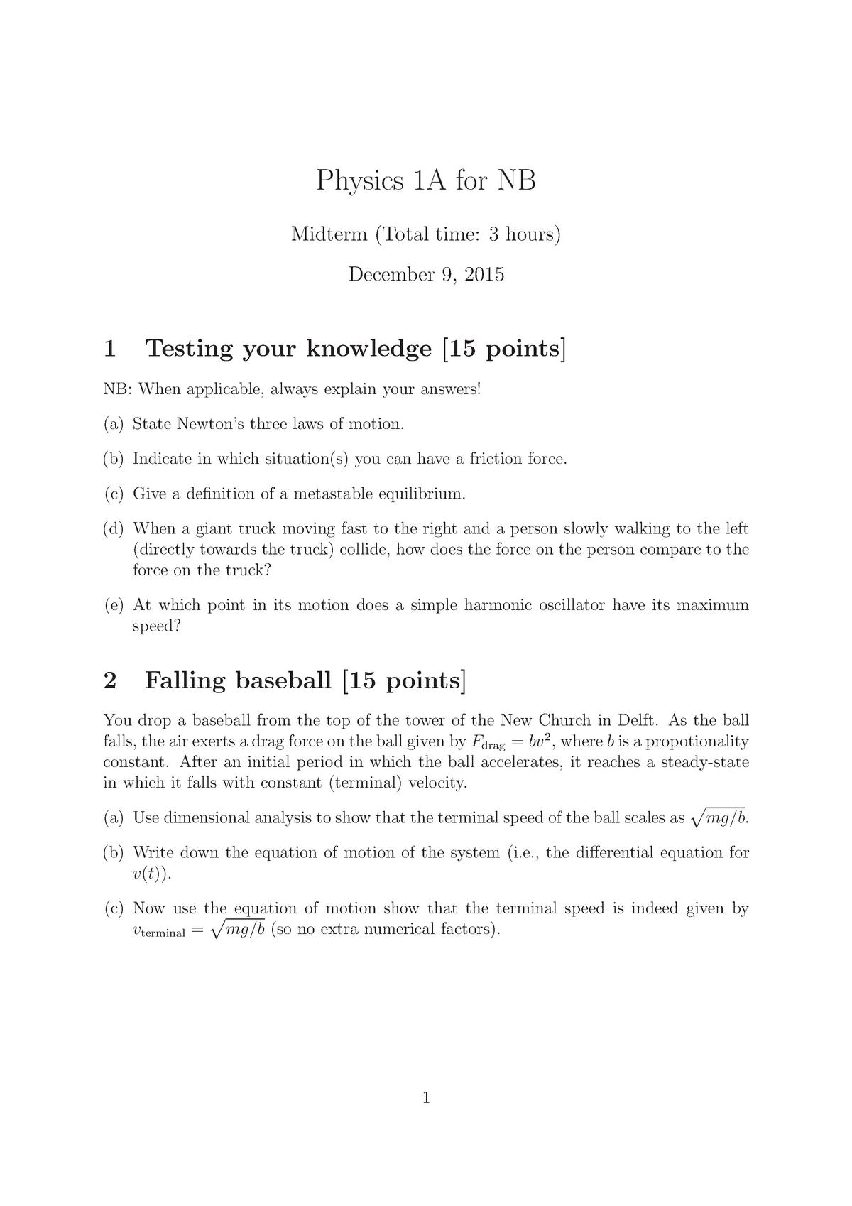 Tentamen 2015 - NB1140: Physics 1a - StudeerSnel nl