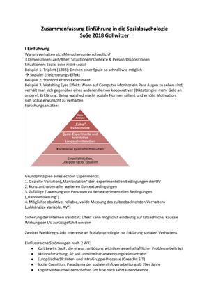 Zusammenfassung Sozialpsychologie Einführung In Die Sozialpsychologie