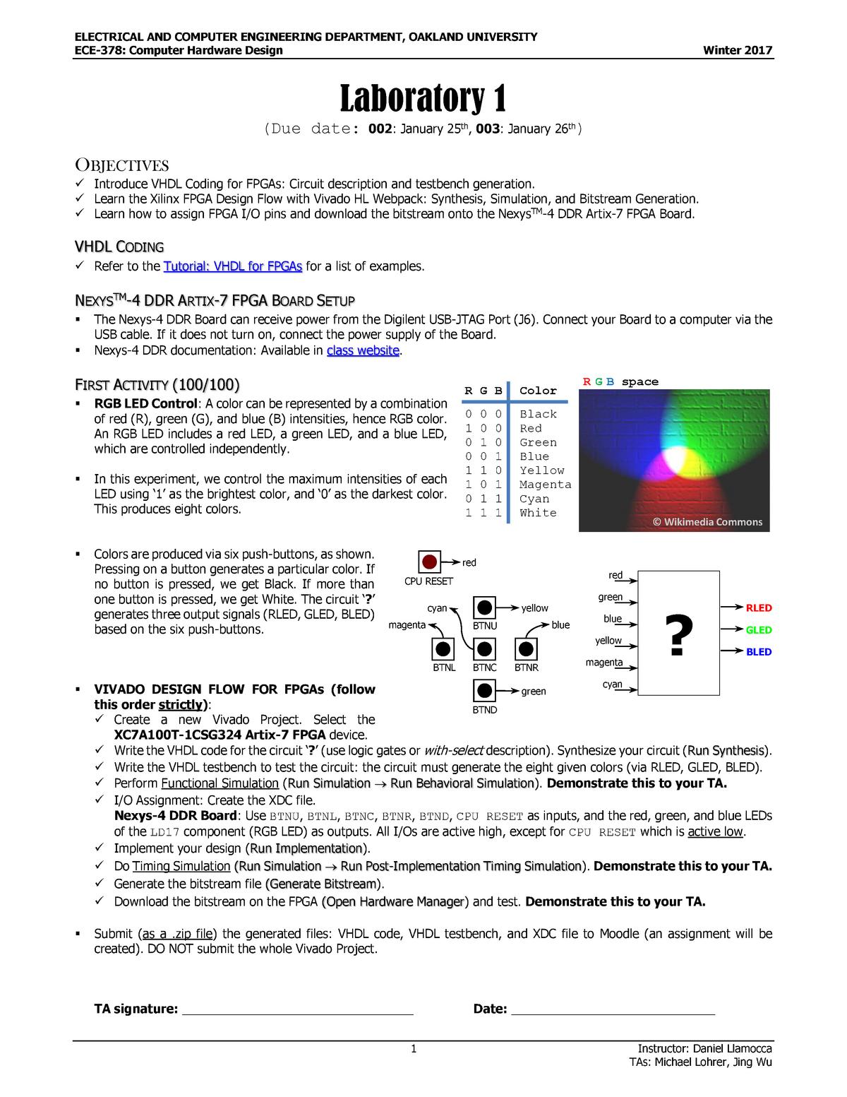 Lab 1 - Laboratory assignment 1 - ECE 378: Computer Hardware Design
