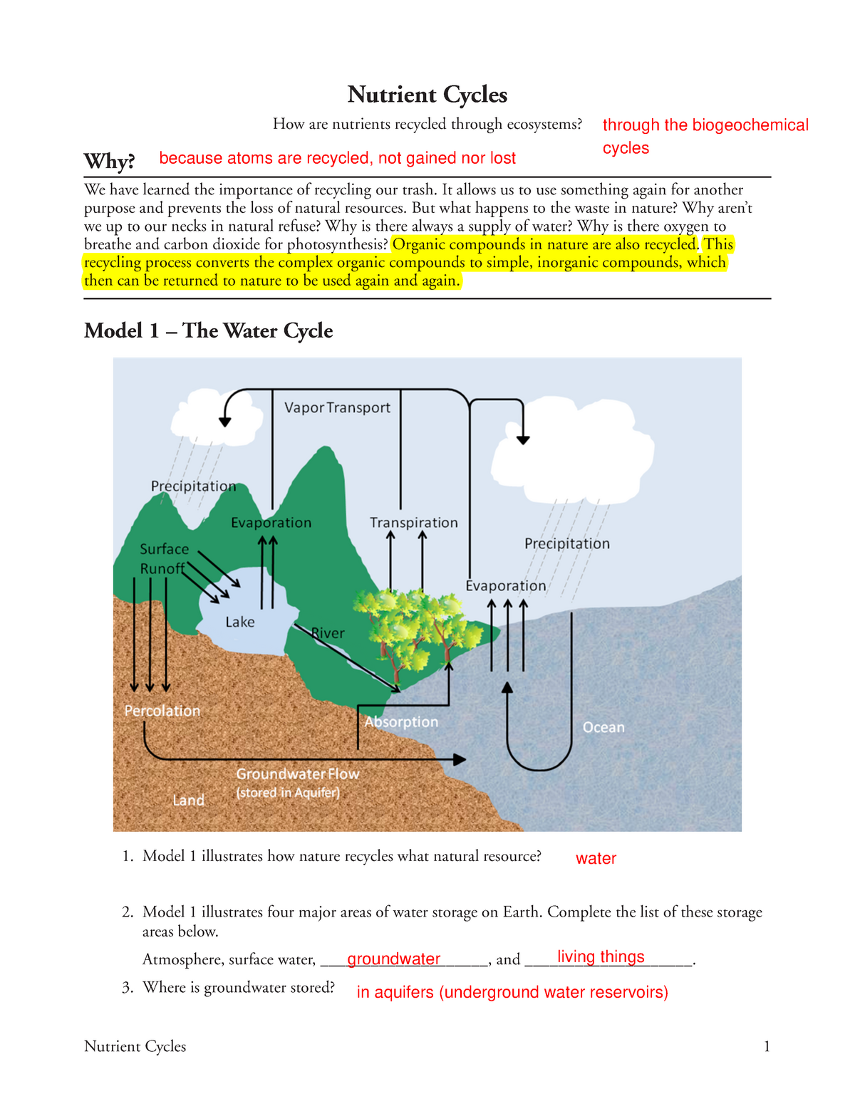 Nutrient Cycles Pogil Assignment - social physcology - StuDocu Within Nutrient Cycles Worksheet Answers