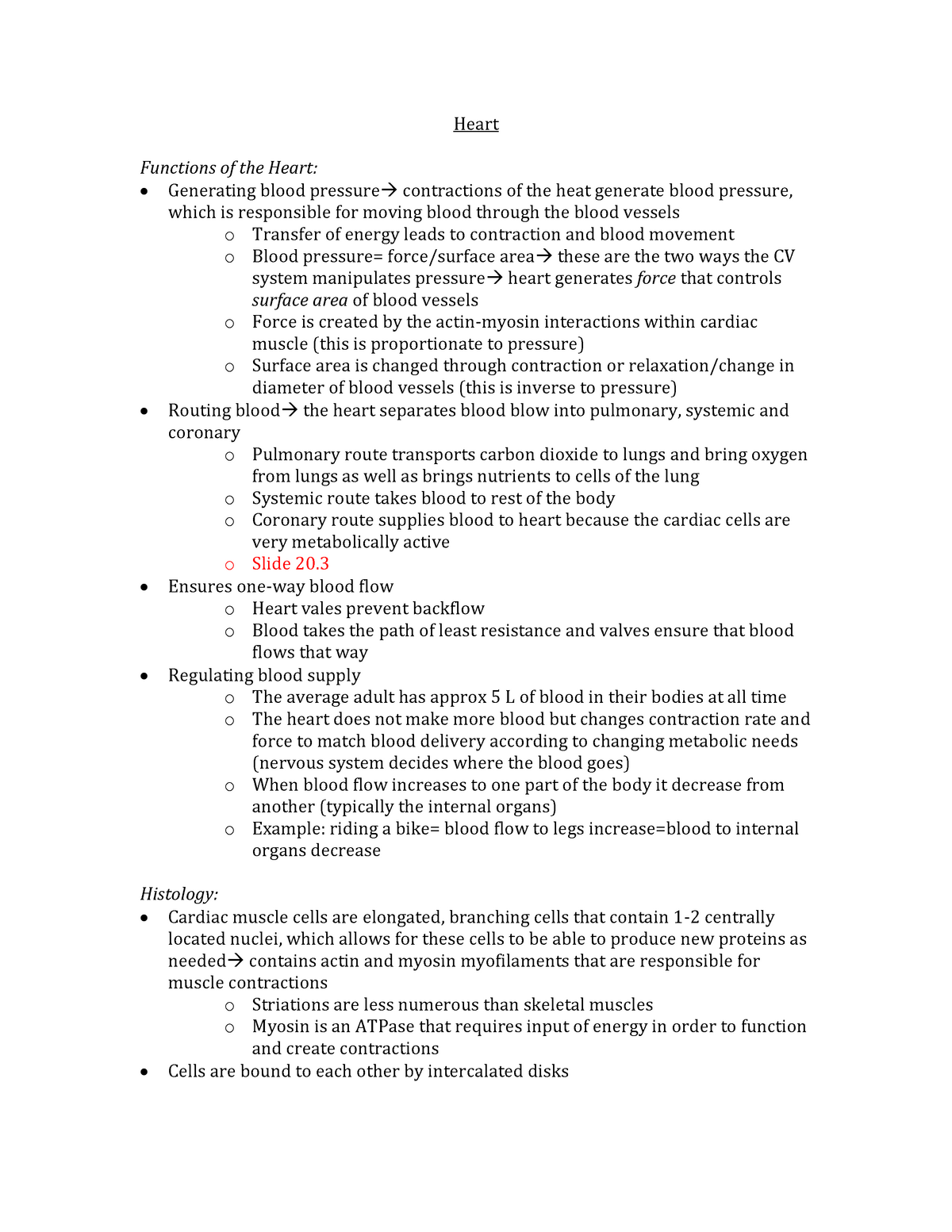 Human Anatomy and Physiology II - Lecture notes - 4  Heart