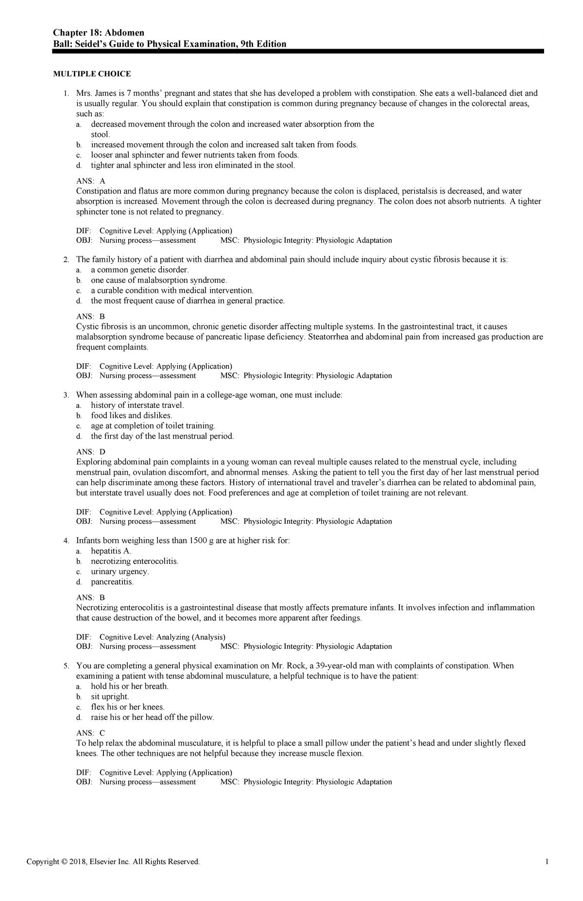 Exam View - Chapter 18 - 043 - UC San Francisco - StuDocu