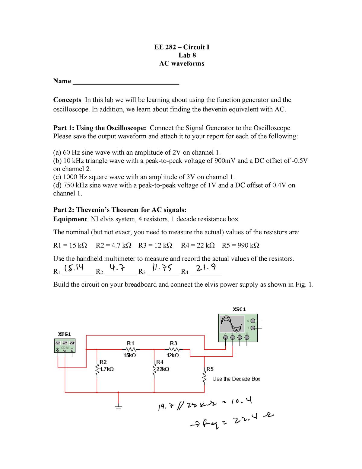 EE 282 Lab 8 - Lab 8 - ECE 282L: Circuits I Lab - StuDocu