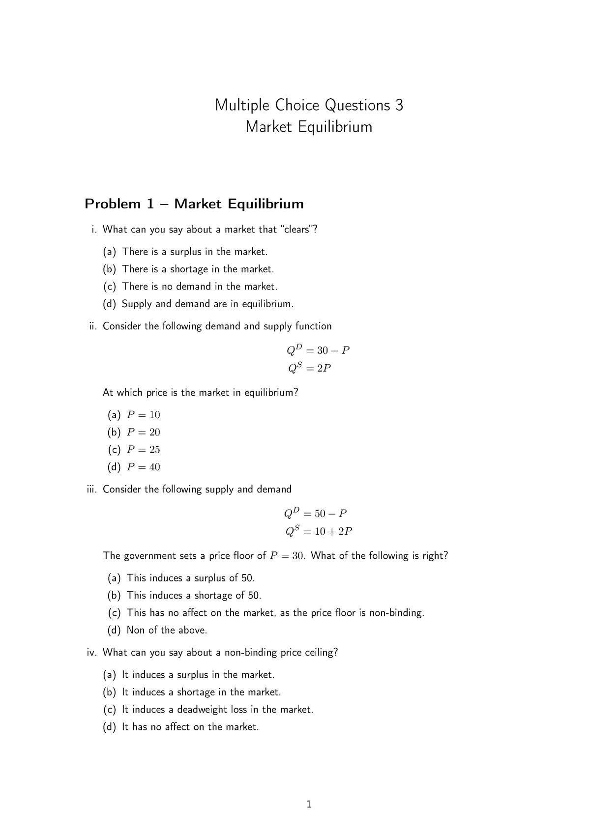 Multiple Choice Questions 3 Introduccio A L Economia Ub