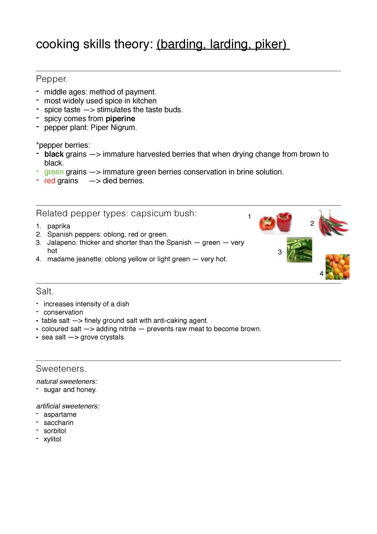 Tentamenweek KOKE - Cooking Skills Theory KOKE 1 2 - StuDocu
