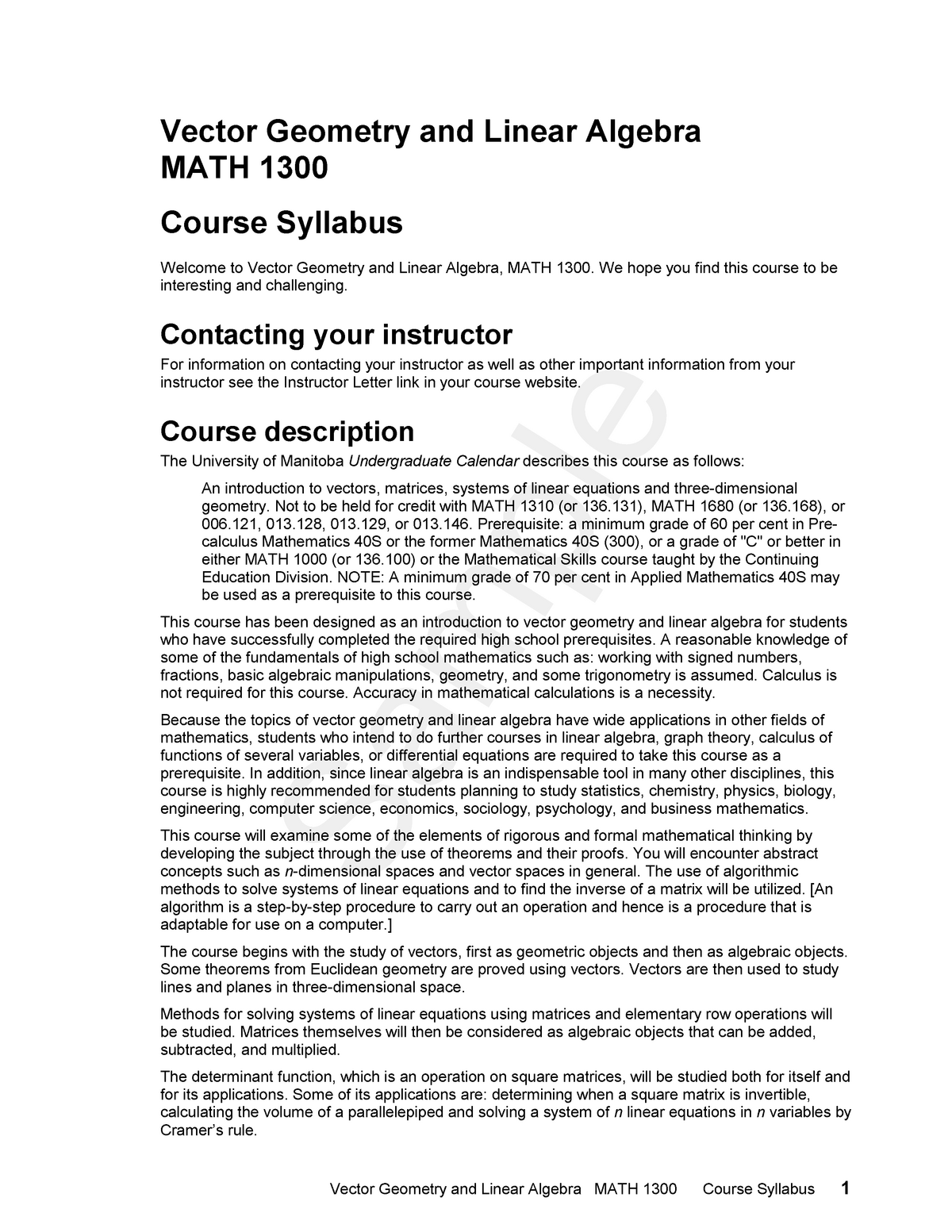 Math1300 syllabus - MATH 1300: Vector Geometry And Linear Algebra