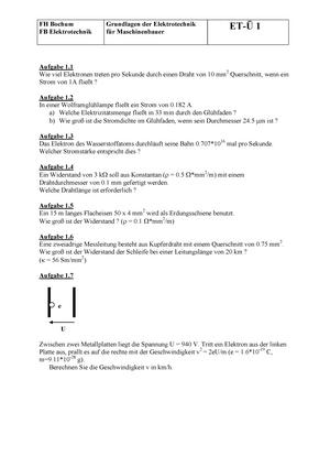 Übungsaufgaben Teil 1 - elektrotechnik 1: Elektrotechnik 1 - StuDocu