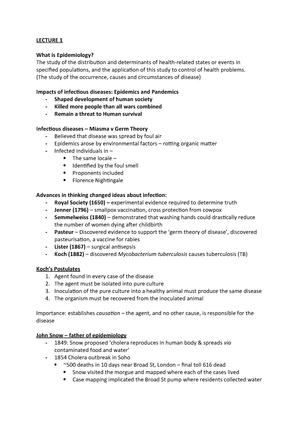 Epidemiology lecture 1 - 091330 : Epidemiology and Public
