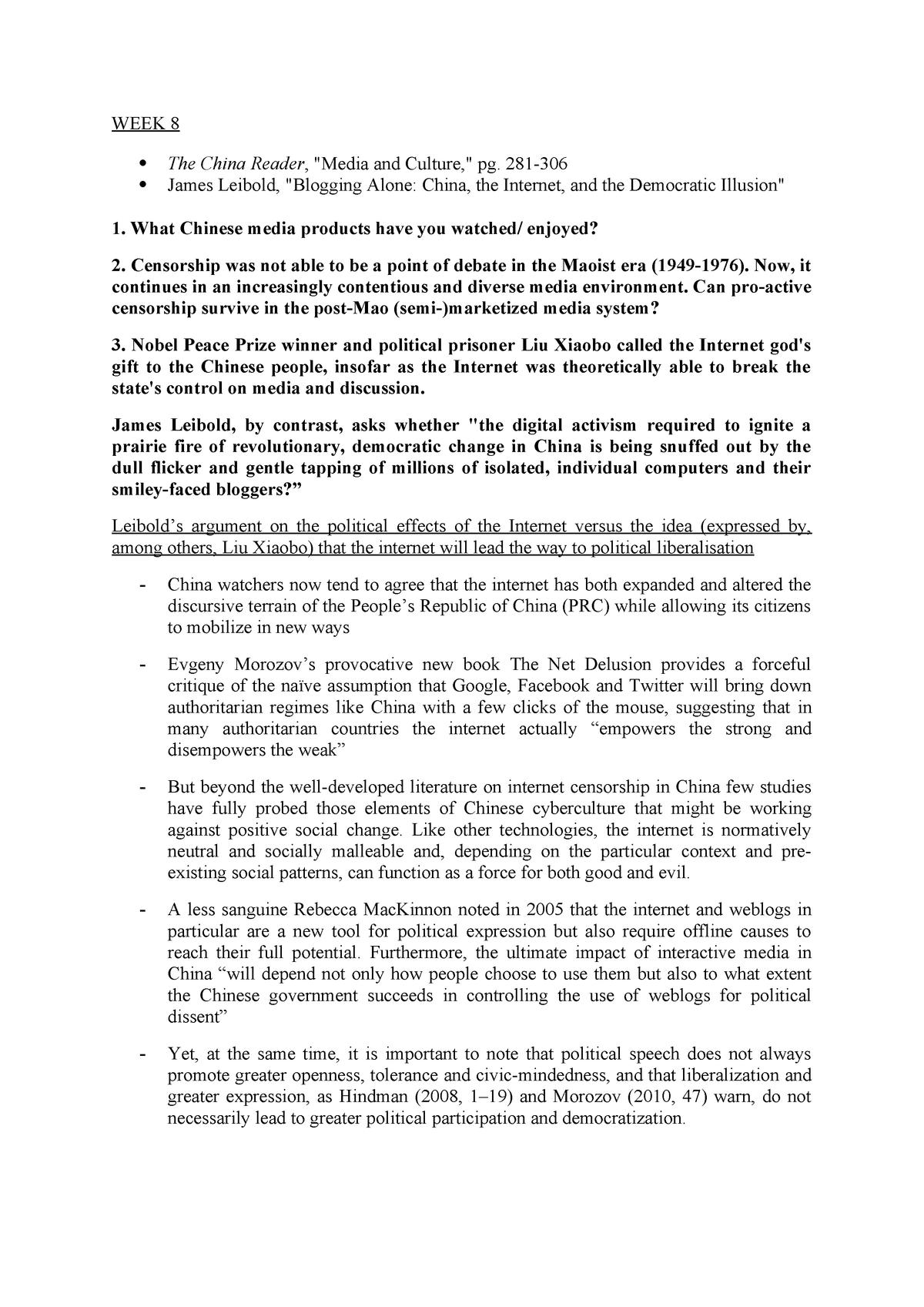 Notes for CONTEMPCHINA - CHN157: Contemporary China - StuDocu