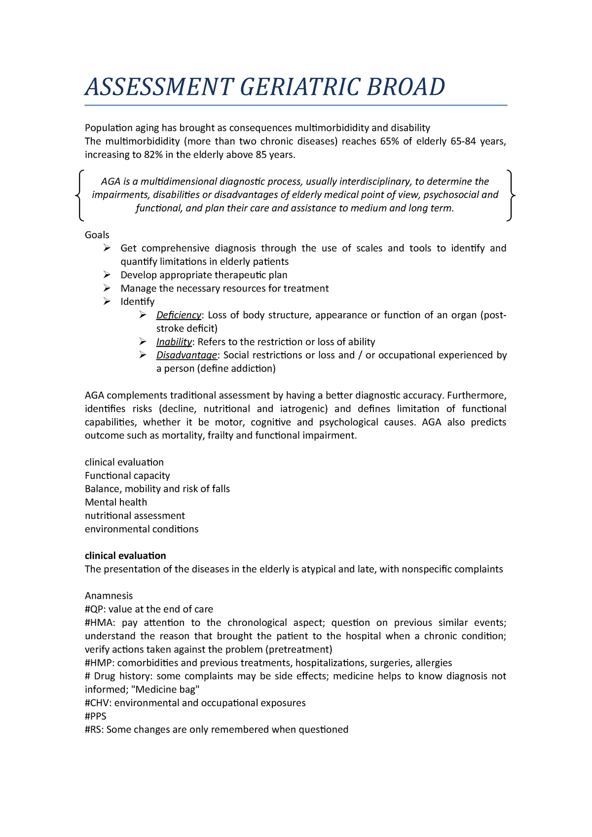 Assessment Geriatric Broad Psy 255 Cognitive Psychology Studocu