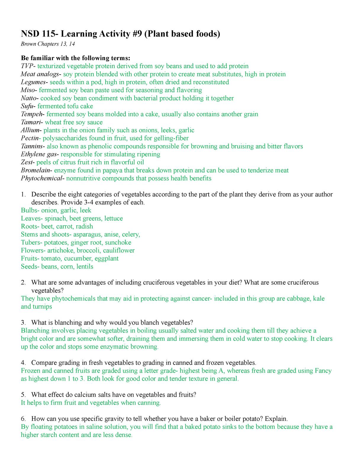 Learning Activity #9 - NSD 115 : Food Science I - StuDocu