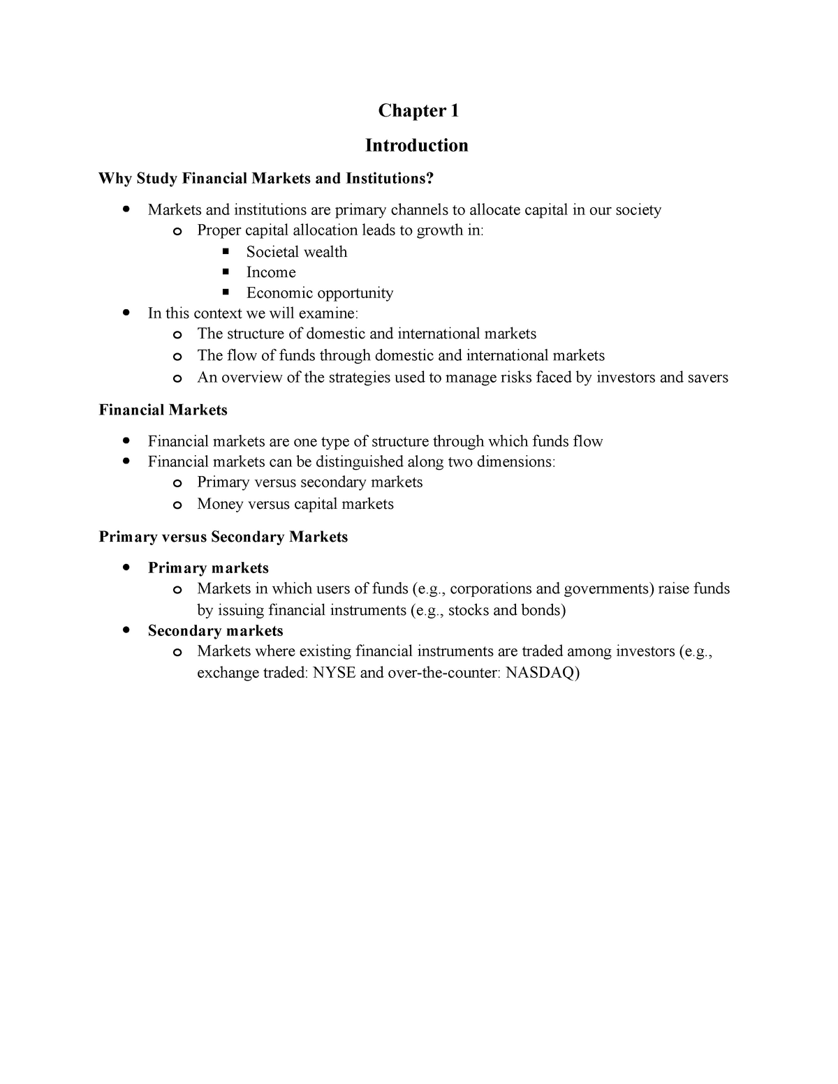Ch 1 Introduction - Lecture notes 3 - FIN 325: Fin Institutions And