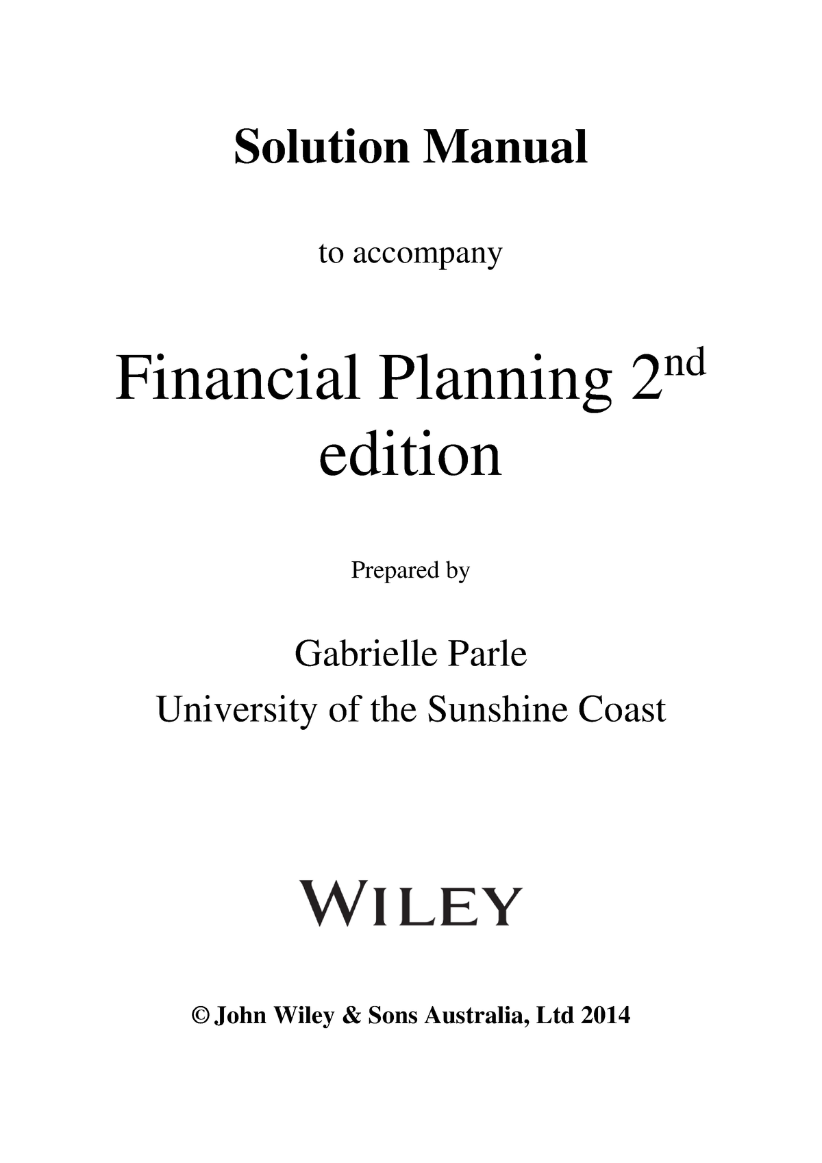 Solution manual Financial Planning - FINA306 - StuDocu