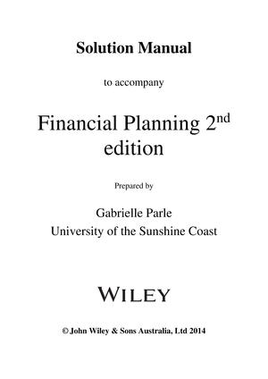 Solution Manual Financial Planning Studocu