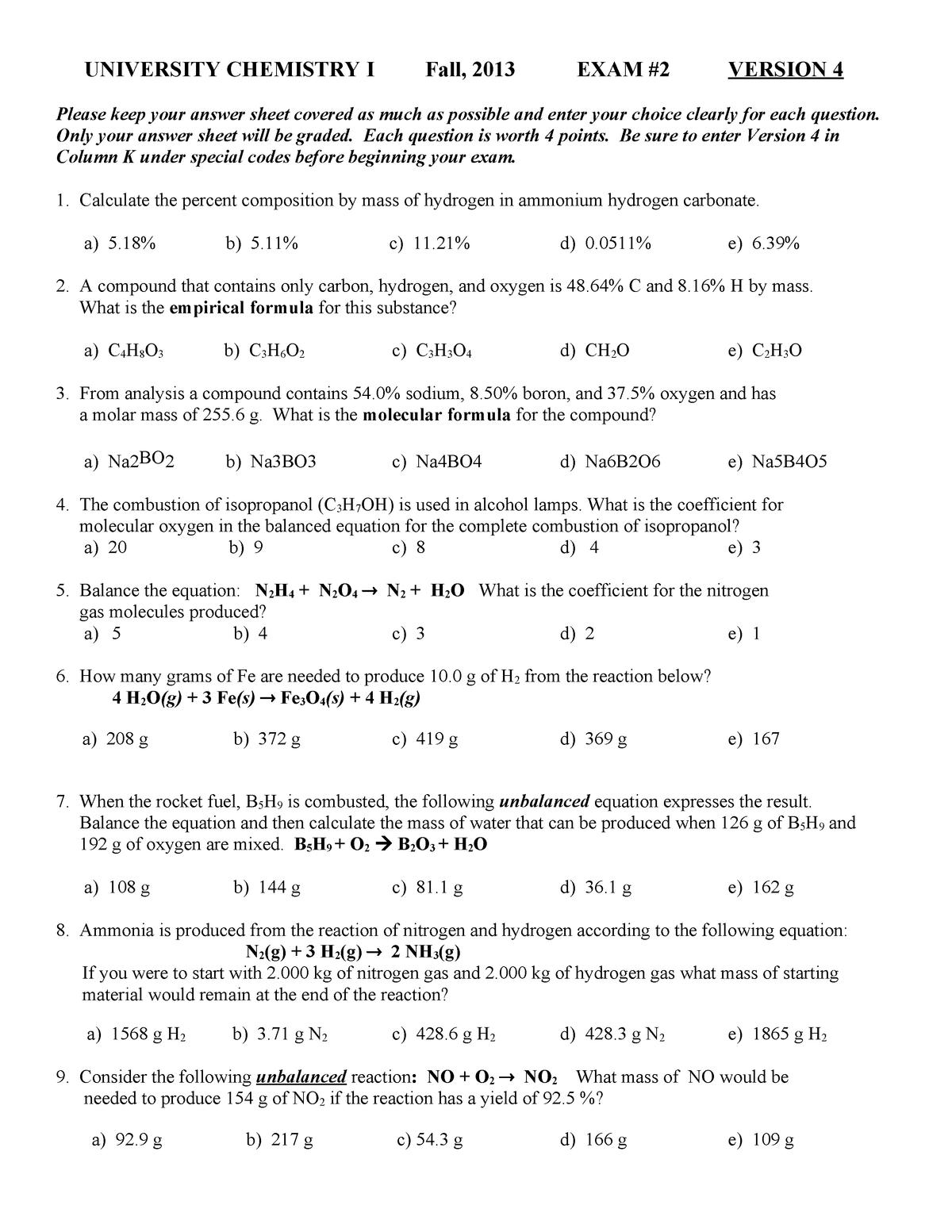 Exam 2015 - CHEM 1103: University Chem I - StuDocu