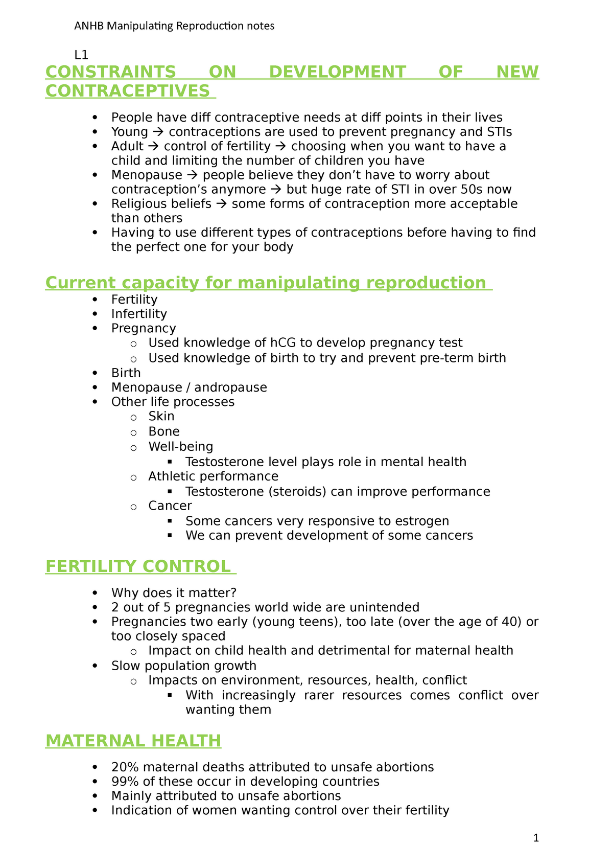 Manipulating Reproduction notes - ANHB1101 : Human Biology I