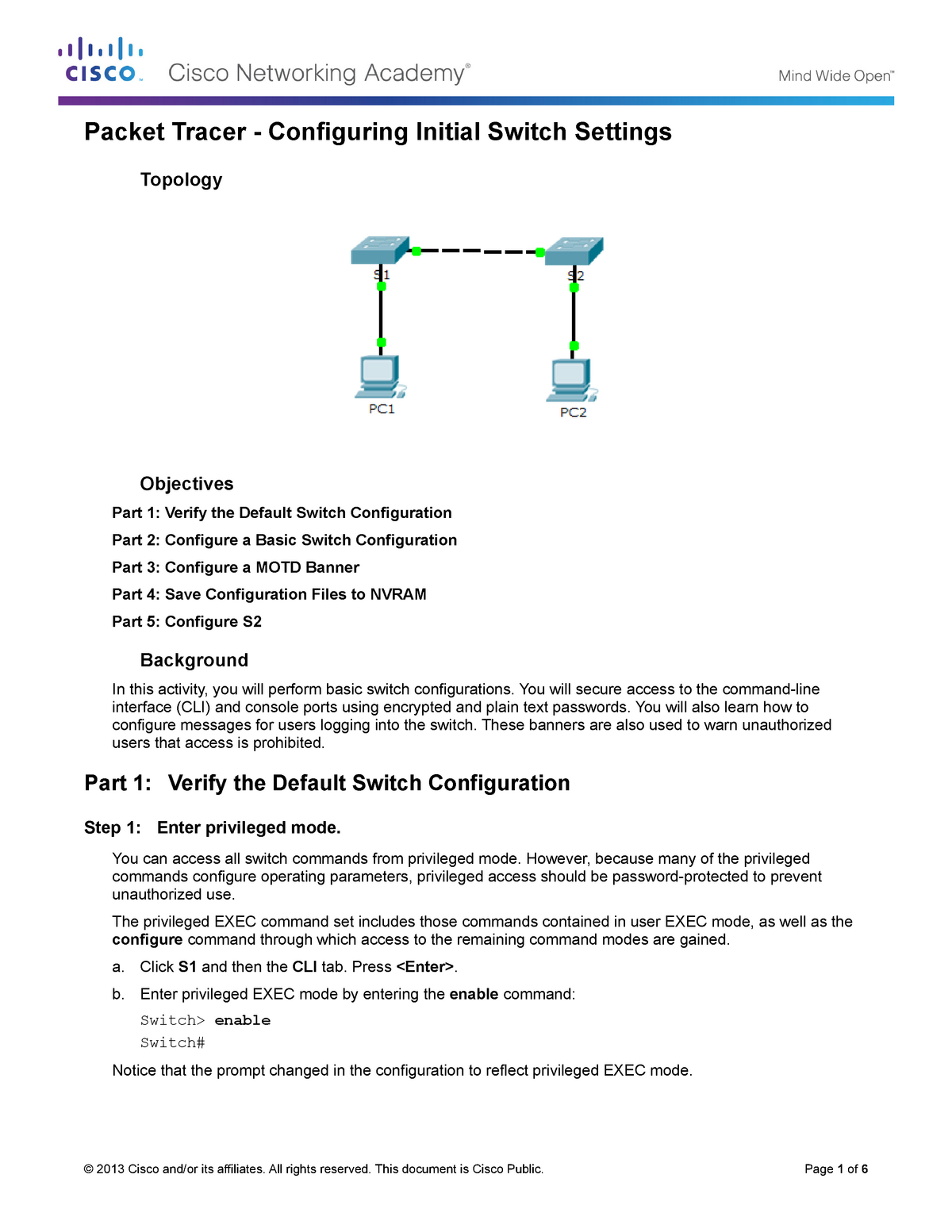 2 2 3 3 Packet Tracer - Configuring Initial Switch Settings