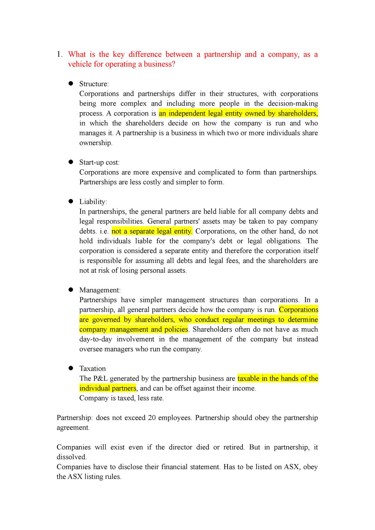Tute 2 - Summary Law of Business Entities - BUSN2101 - StuDocu