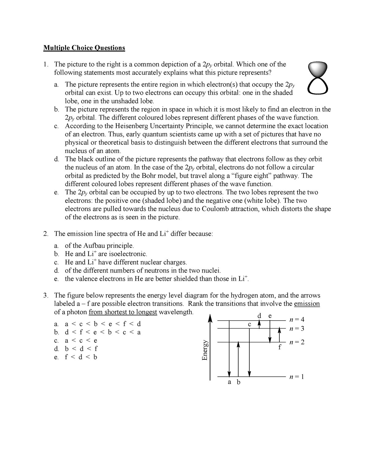 Final Exam 12 October, questions - CHEM 1300 - U of M - StuDocu