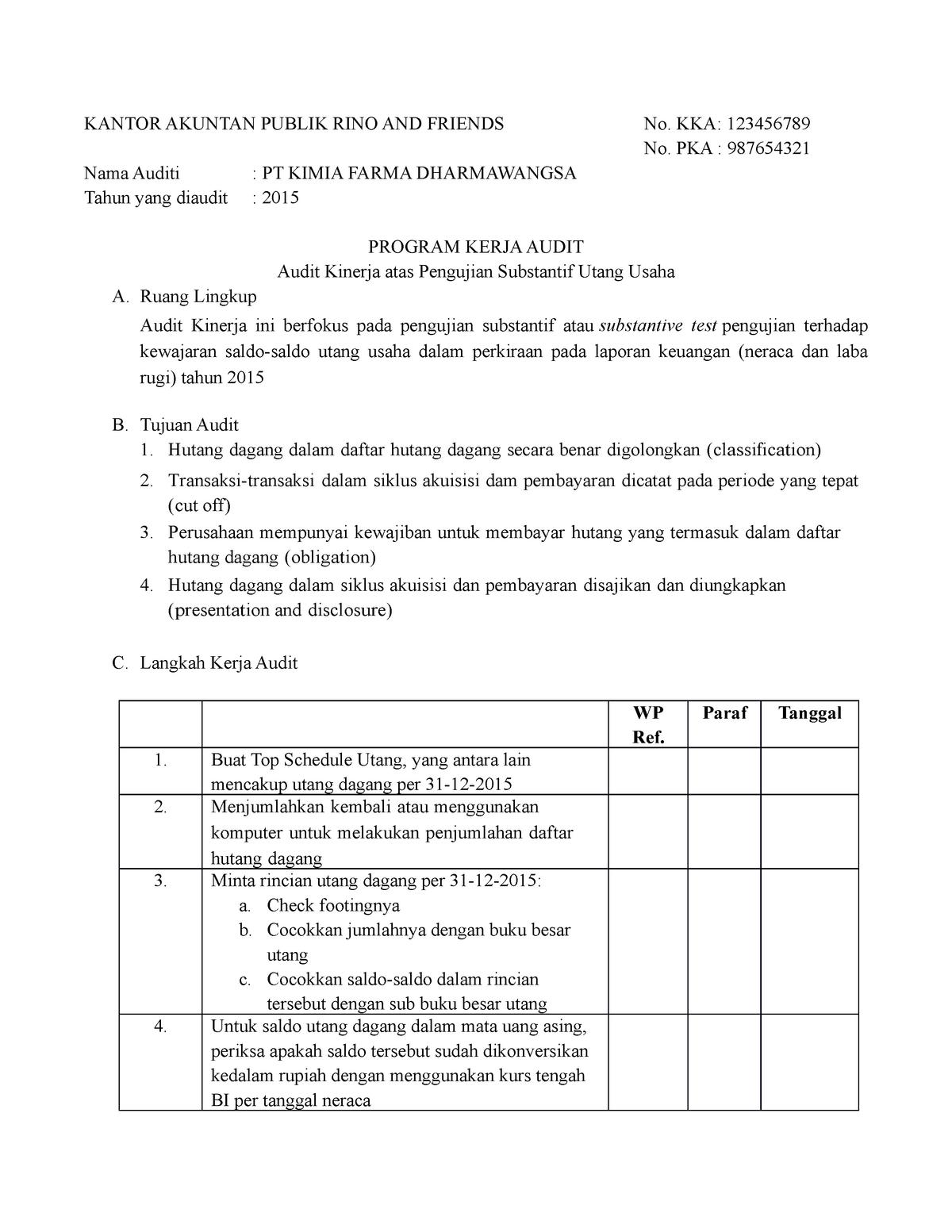 Contoh Program Audit Kimia Studocu