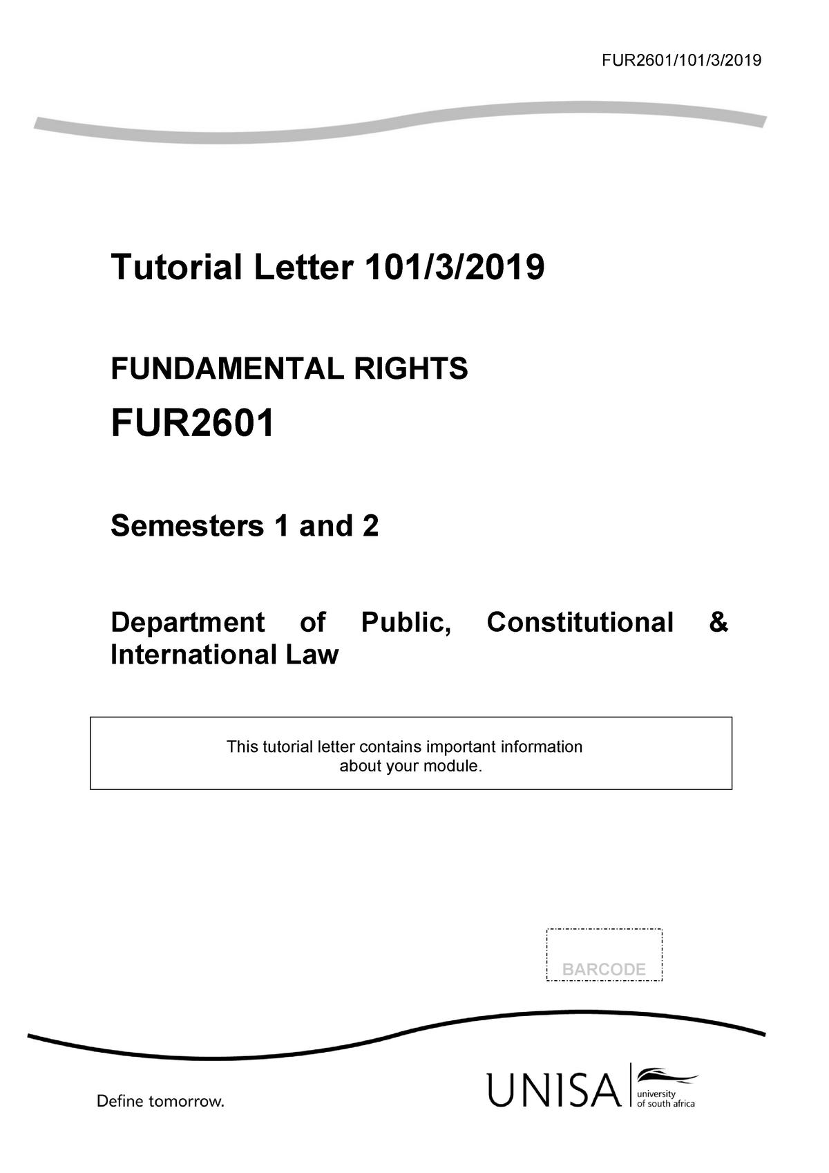Tutorial Letter 101 2019 3 b-2 - Fundamental Rights FUR2601 ...