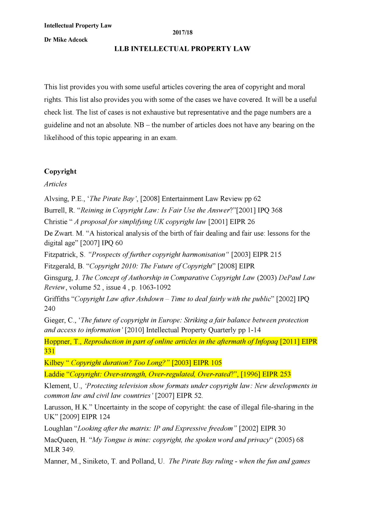 Detailed Copyright Notes, with case law - LAW3061 - DUR