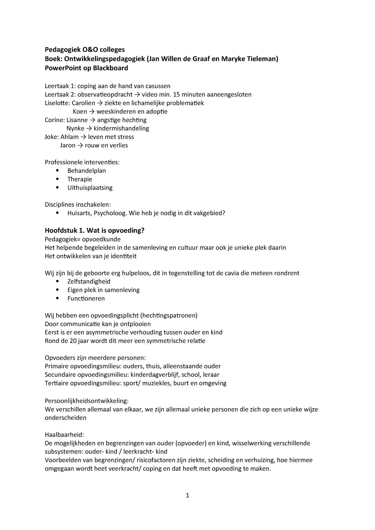 3ee2c5ecfdc78a College-aantekeningen, alle colleges - L.AMA.11634:  Ontwikkelingspsychologie & Orthopedagogiek - StudeerSnel.nl