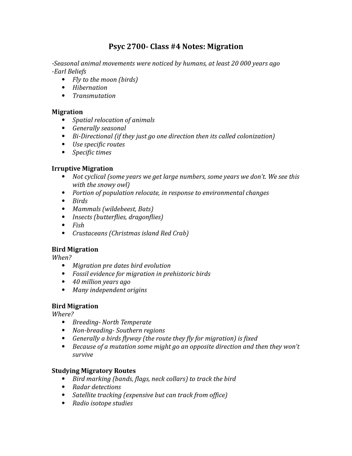 Psyc 2700-4 - Lecture notes 4 - Psychology 2700: Behaviour and