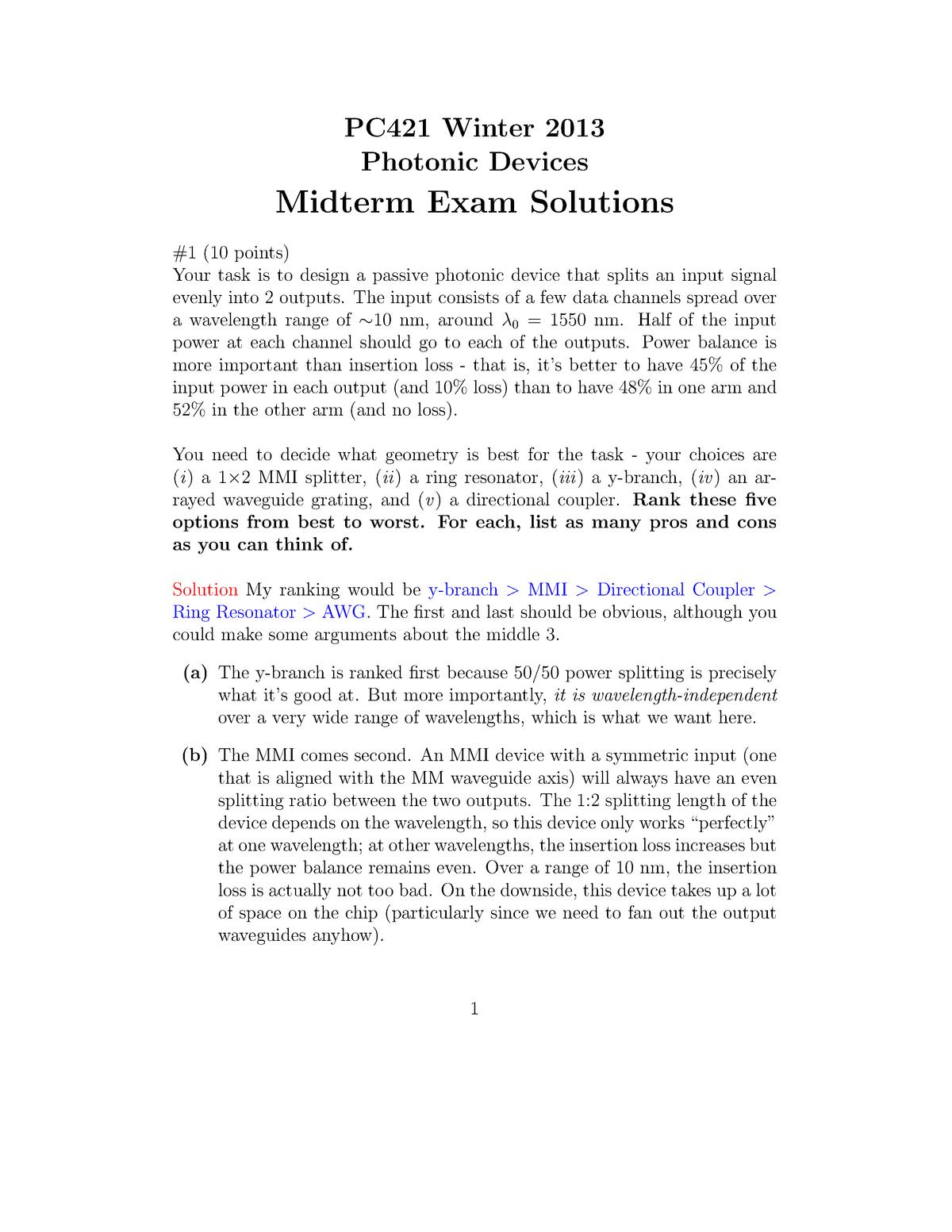 Exam 2013 - PC 421: Photonic Devices - StuDocu