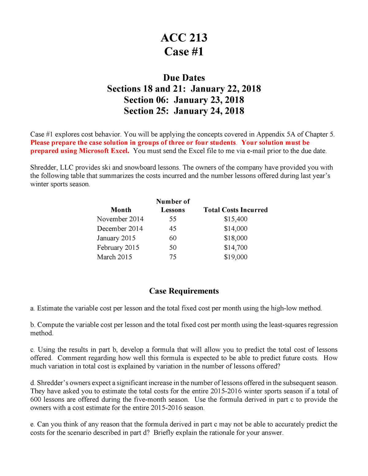 Case 1 instructions - case study project - ACC 213: Principles Of