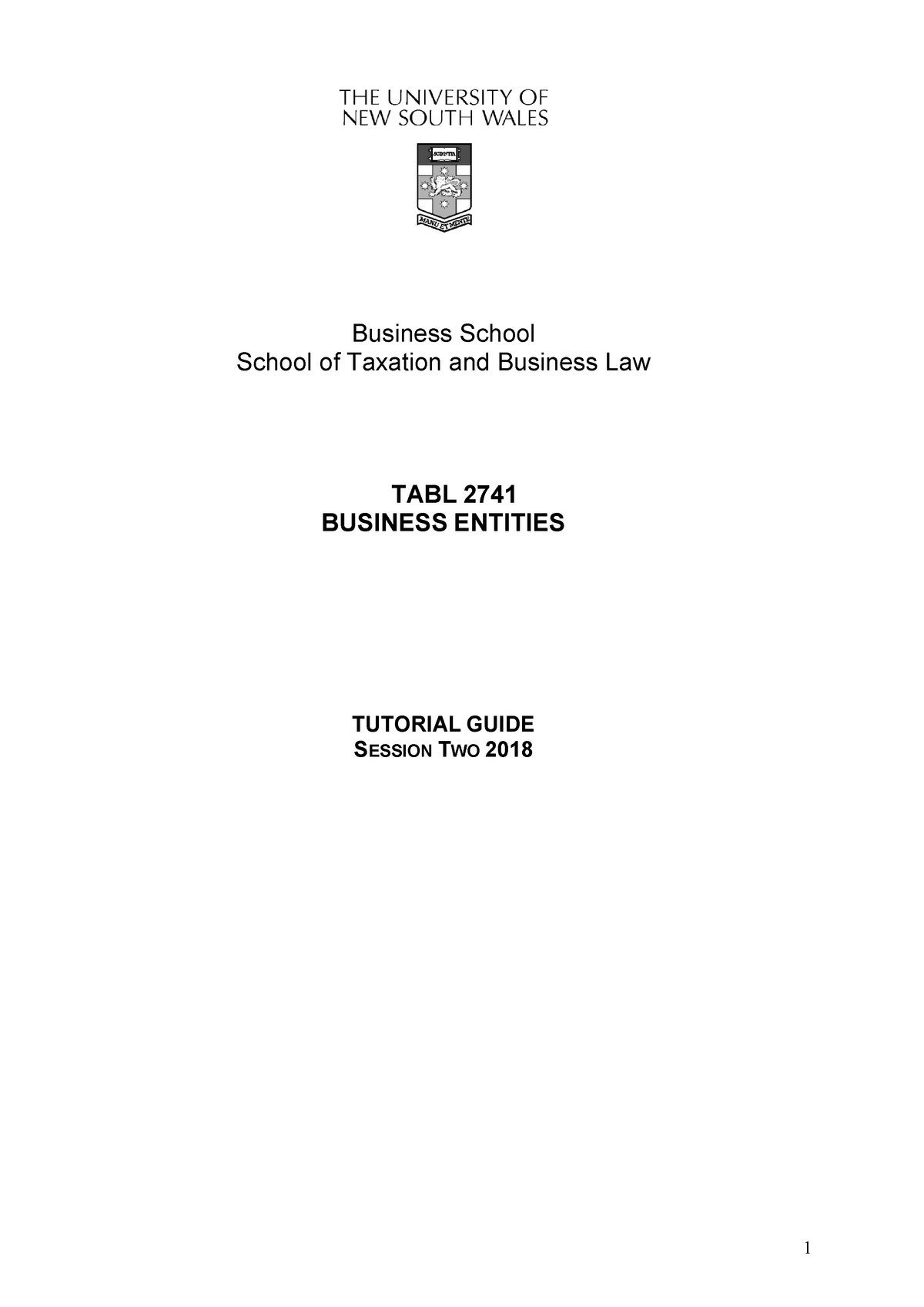 TABL 2741-tutorial program (Session 2 2018 ) - Tabl2741: Law