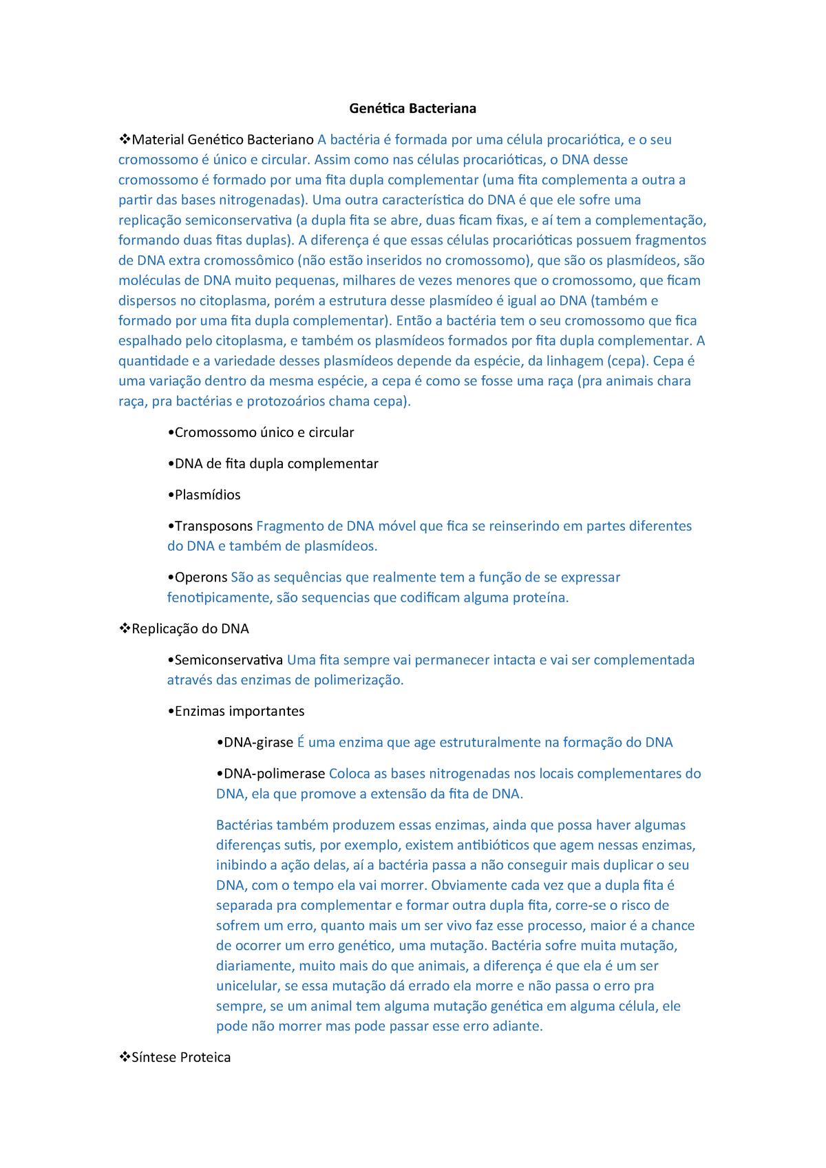 Bacteriologia 3 Genética Bacteriana Ics0019 Ufg Studocu