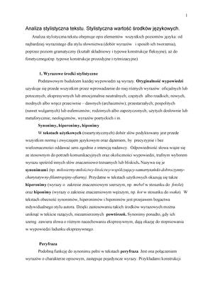 Stylistyka Notatki Z Wykładów Zdunkiewicz Jedynak Studocu
