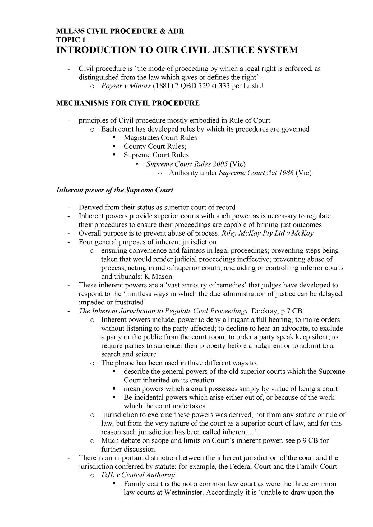 Civil Procedure - MLL391 - StuDocu