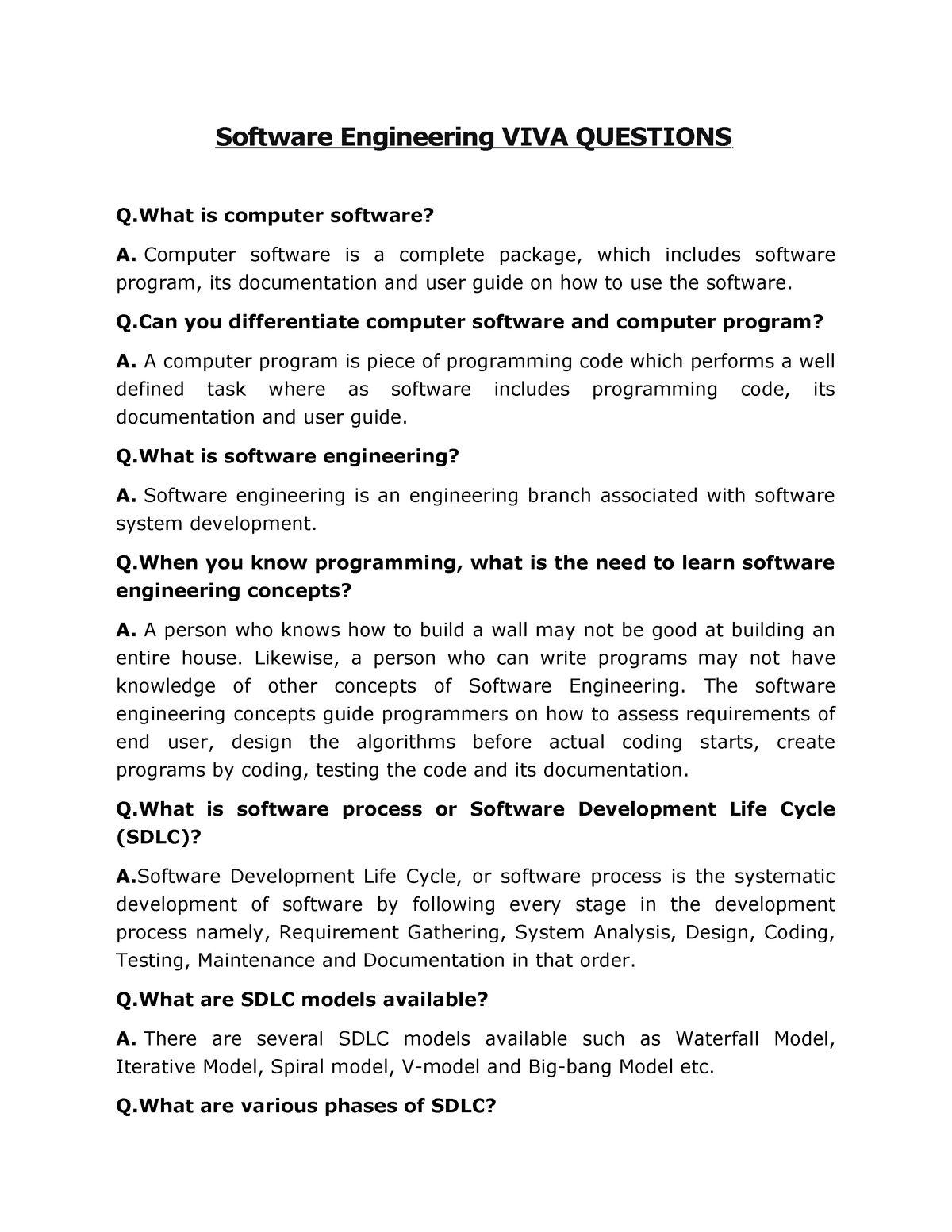 Se viva - Practical viva questions for software engineering