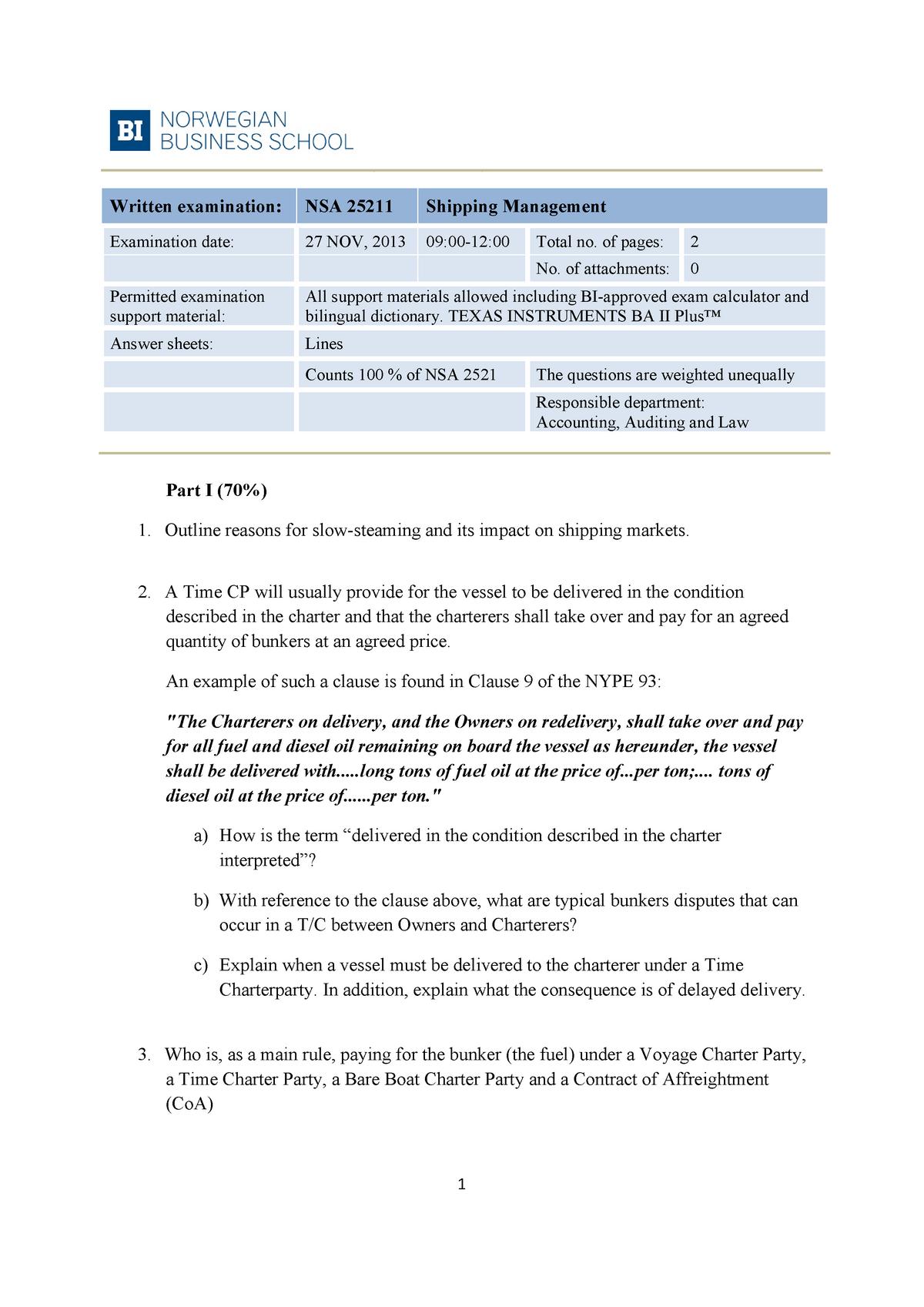 Eksamen 2013 - NSA 25211: Shipping Management - StuDocu