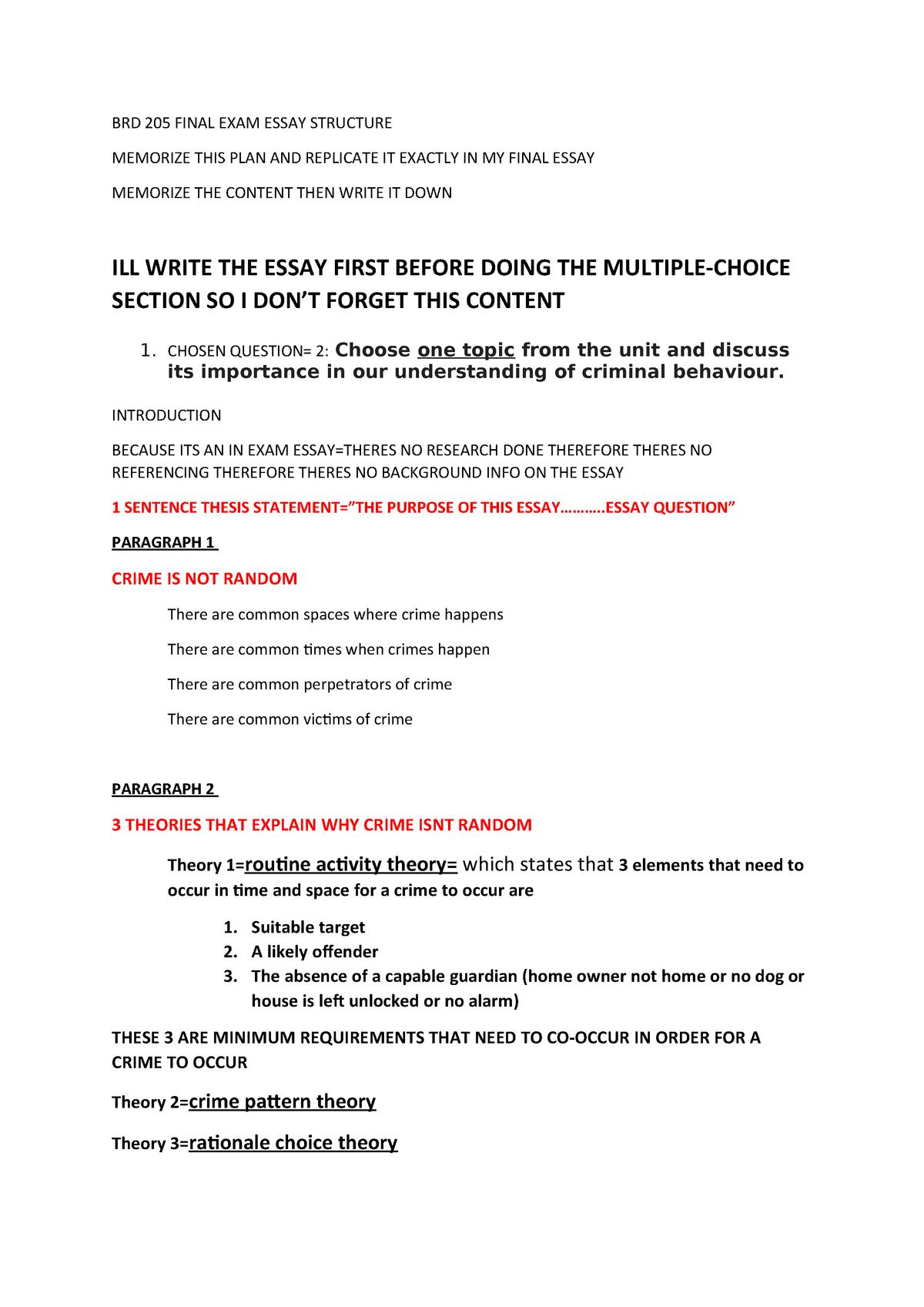BRD 205 Final EXAM Essay Structure - BRD205 - StuDocu