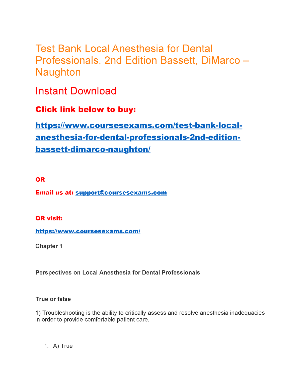 Test Bank Local Anesthesia for Dental Professionals, 2nd Edition
